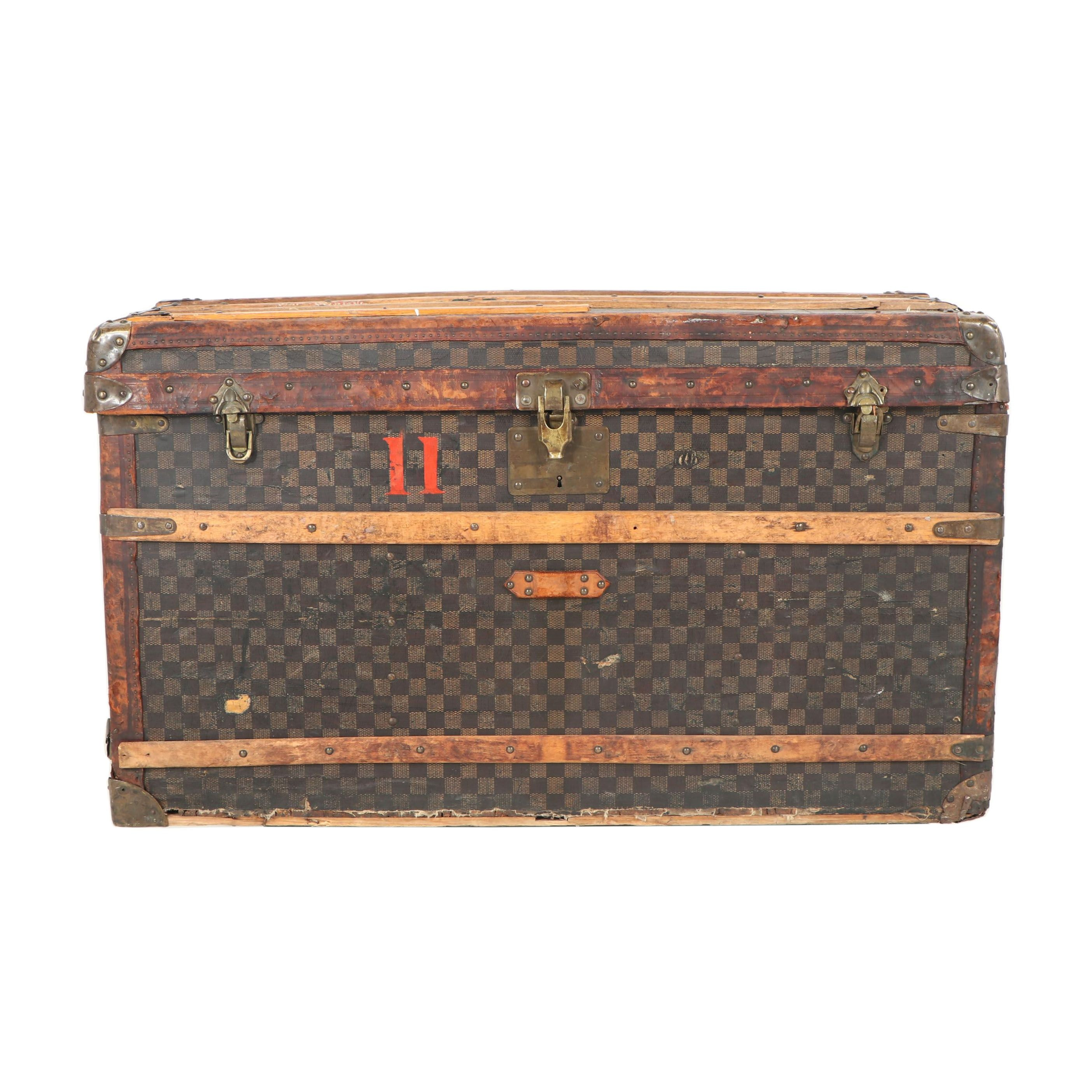 Louis Vuitton Damier Ebene Canvas Steamer Trunk, Late 19th Century