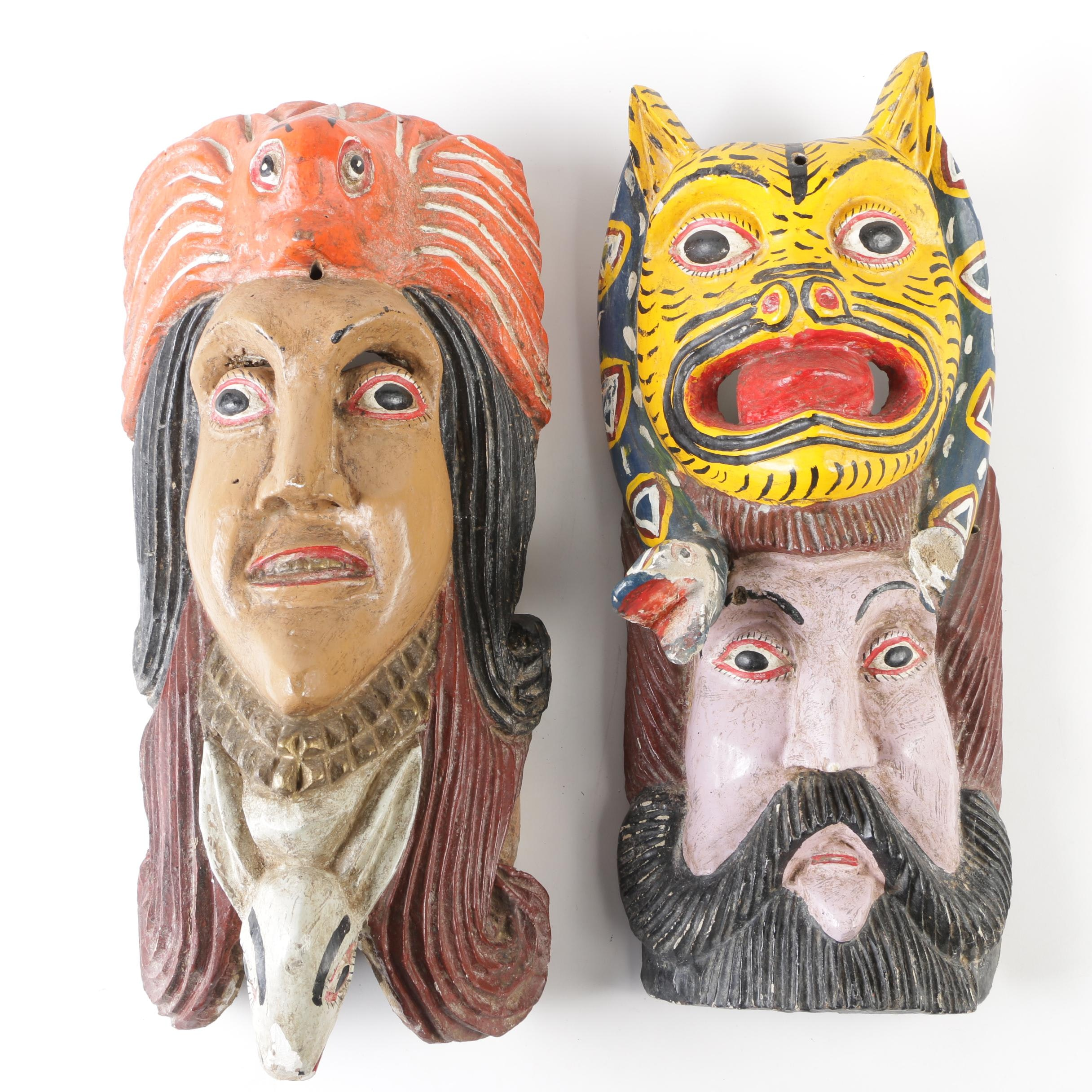 Hand-Painted Mexican-American Style Papier-Mâché Masks with Animal Motifs