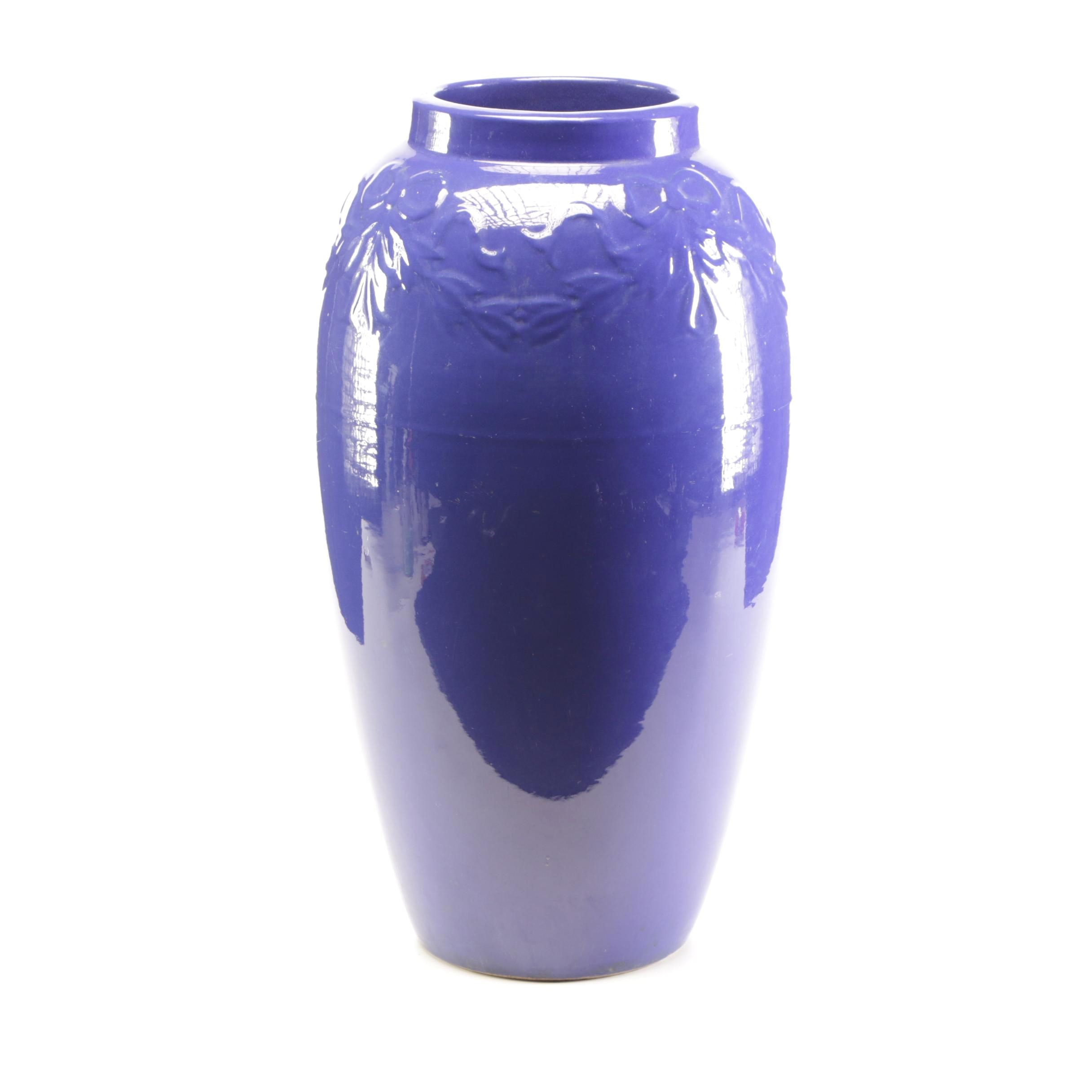 Cobalt Blue Earthenware Floor Vase, Early to Mid 20th Century