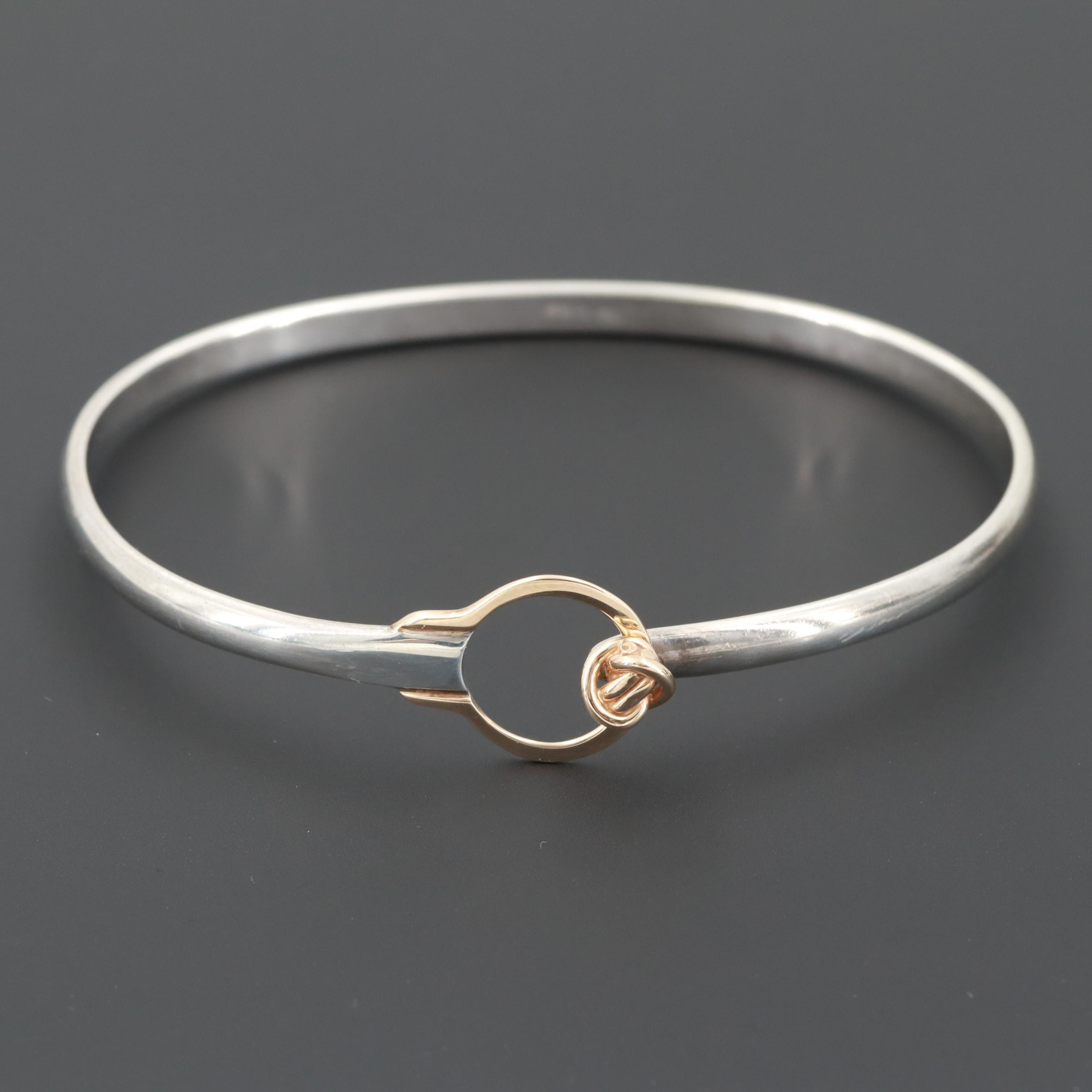 Sterling Silver Bracelet with 14K Yellow Gold Accent
