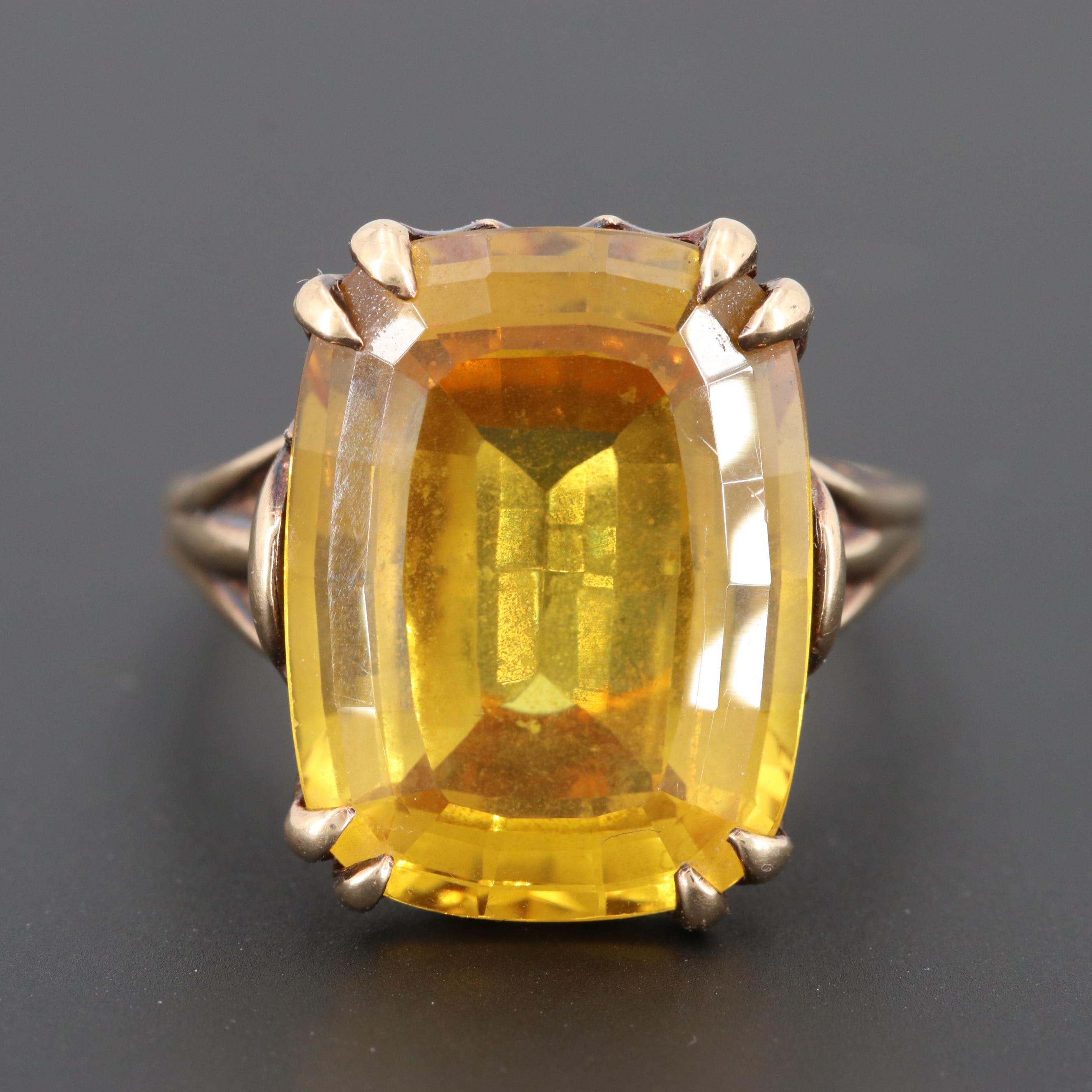 Vintage 10K Yellow Gold 15.97 CT Citrine Ring