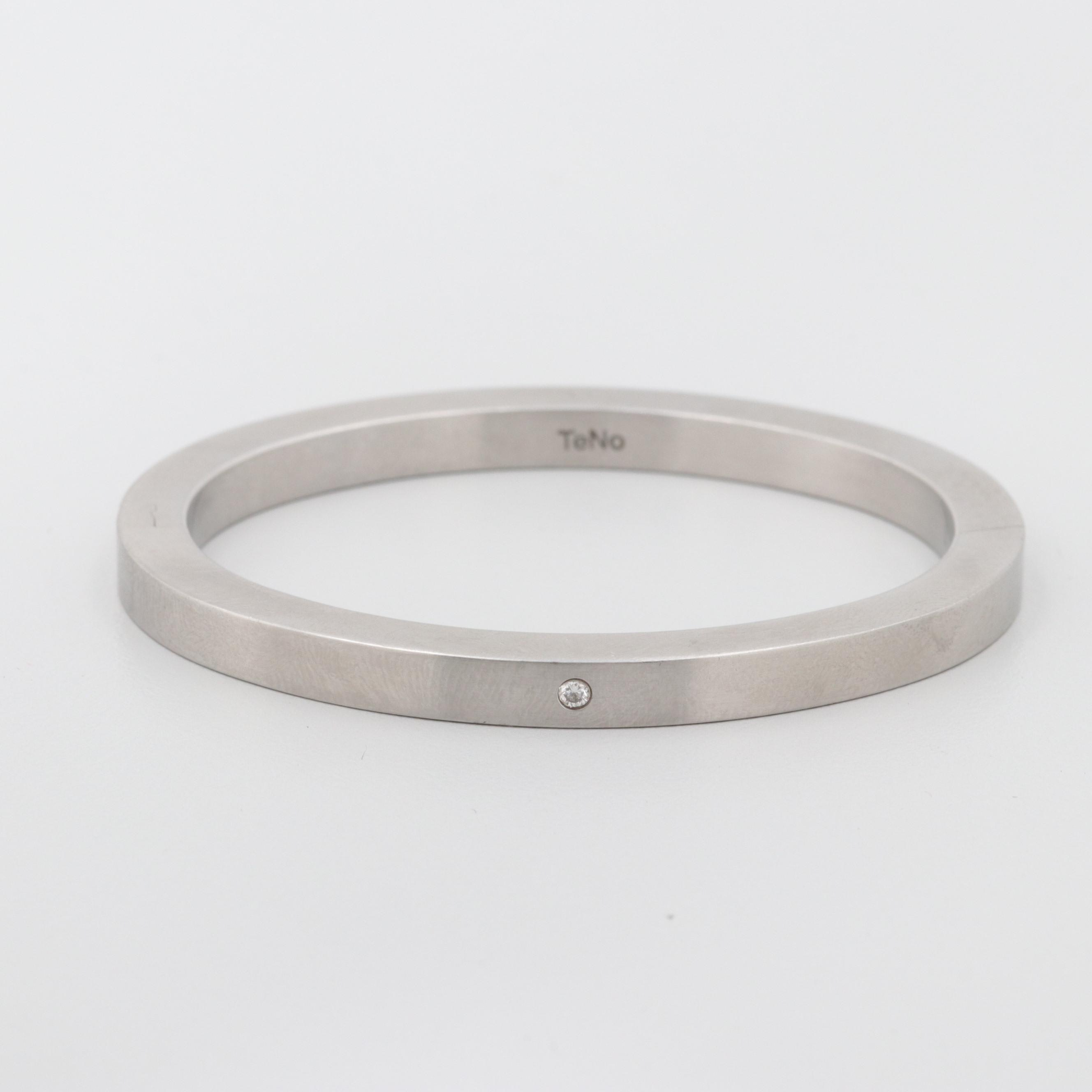 TeNo Stainless Steel Hinged Bangle with Diamond Accent