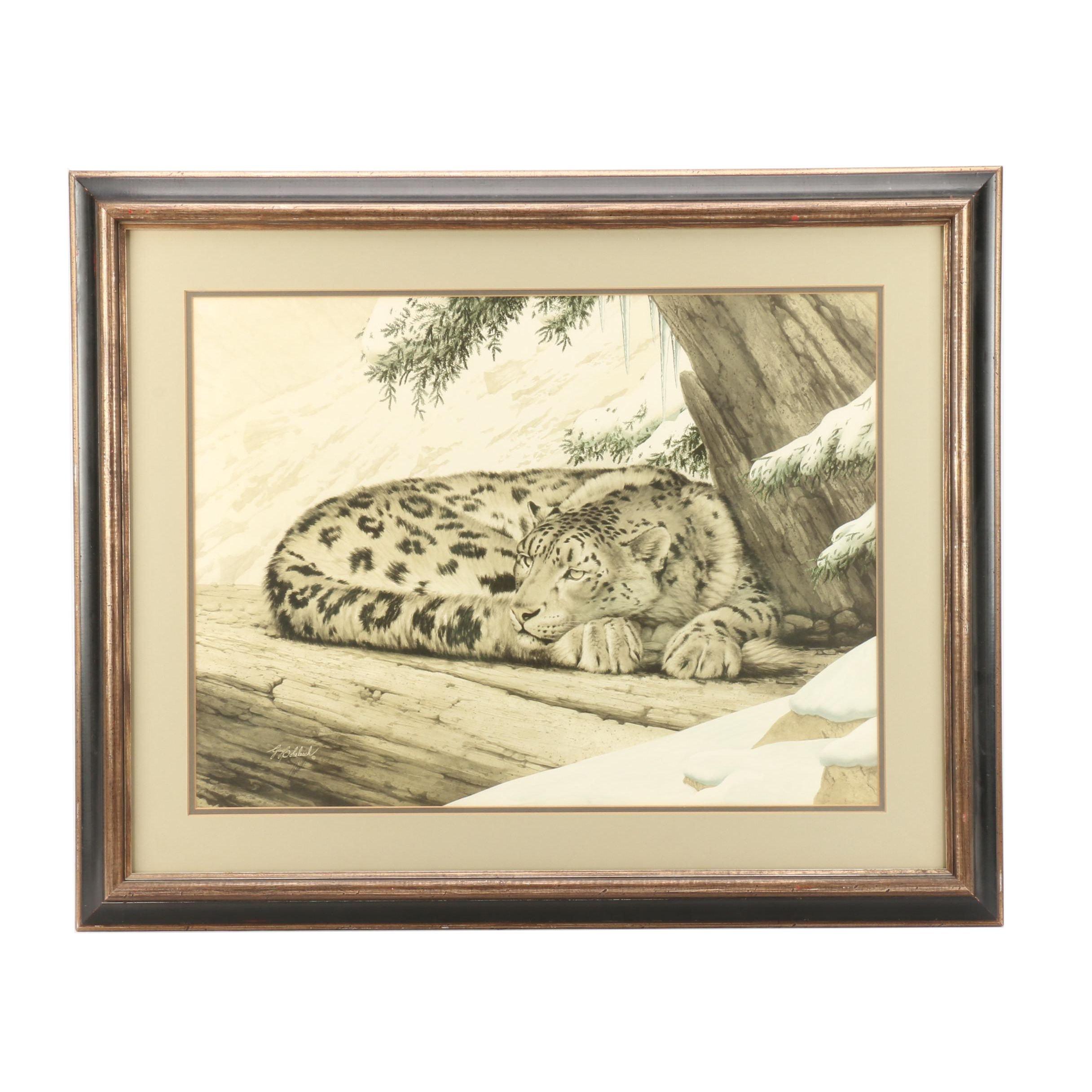 "Guy Coheleach Lithograph ""Snow Leopard"""