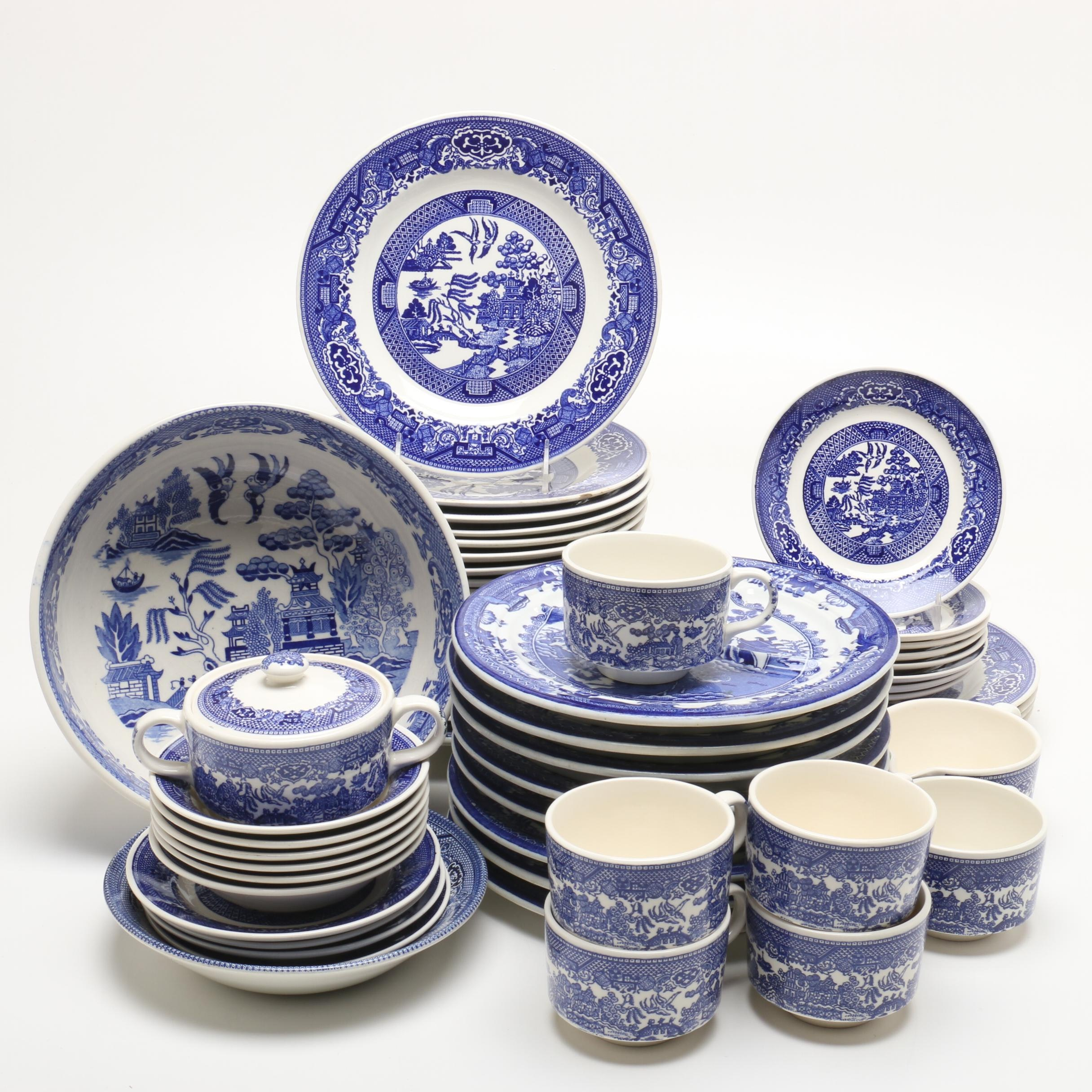 Mixture of Willow Ware Dinnerware