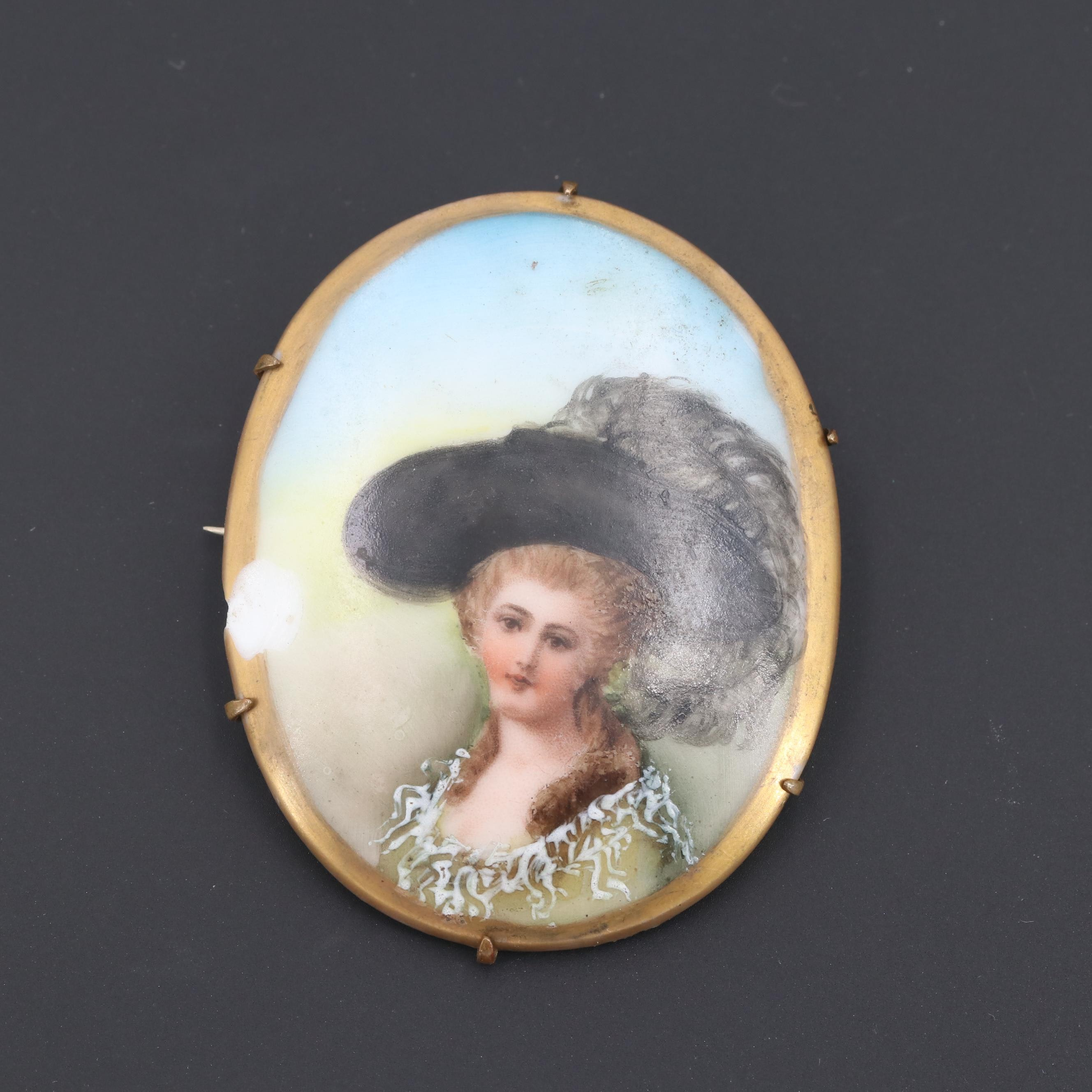 Gold Tone Glass Portrait Brooch
