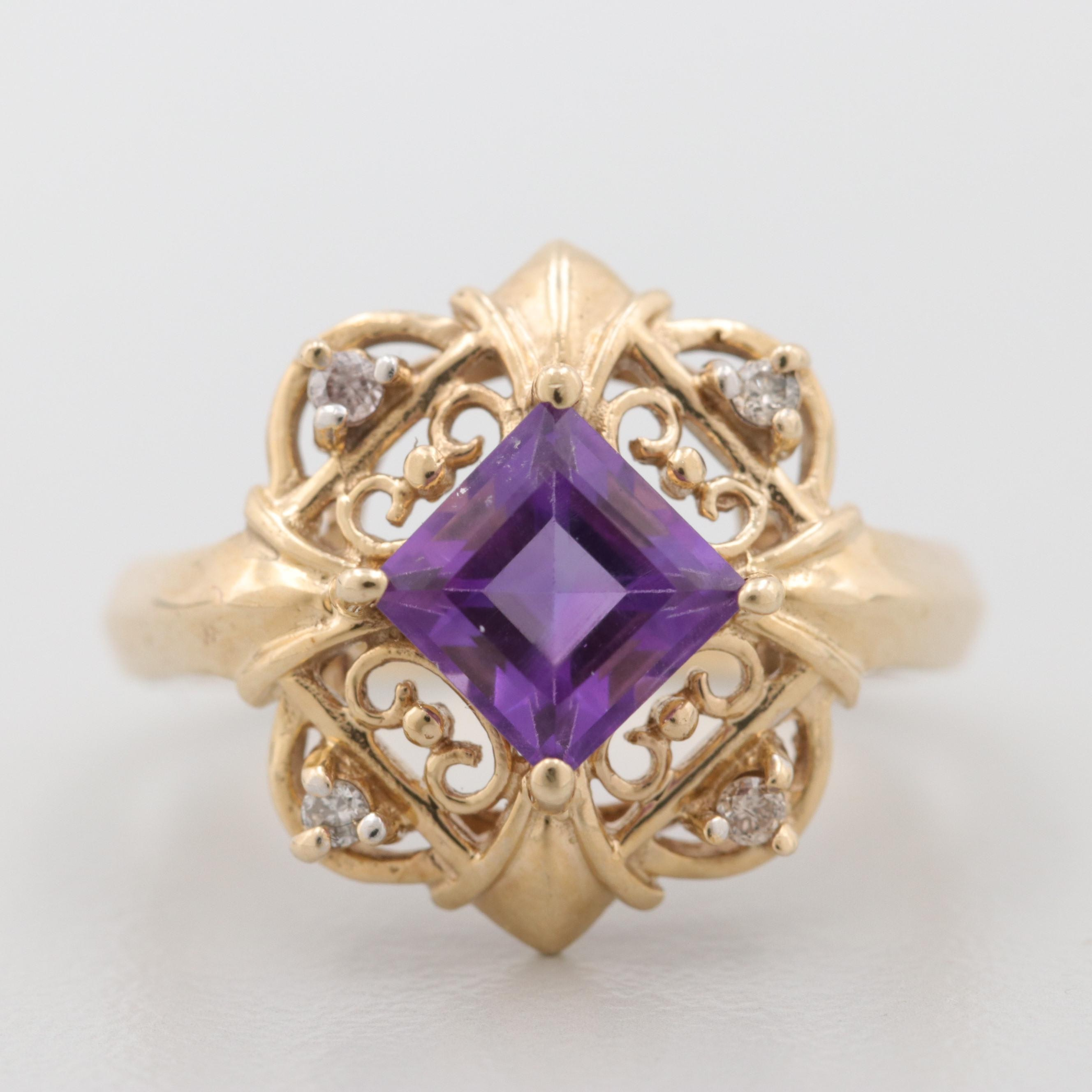 10K Yellow Gold Amethyst and Diamond Ornate Ring