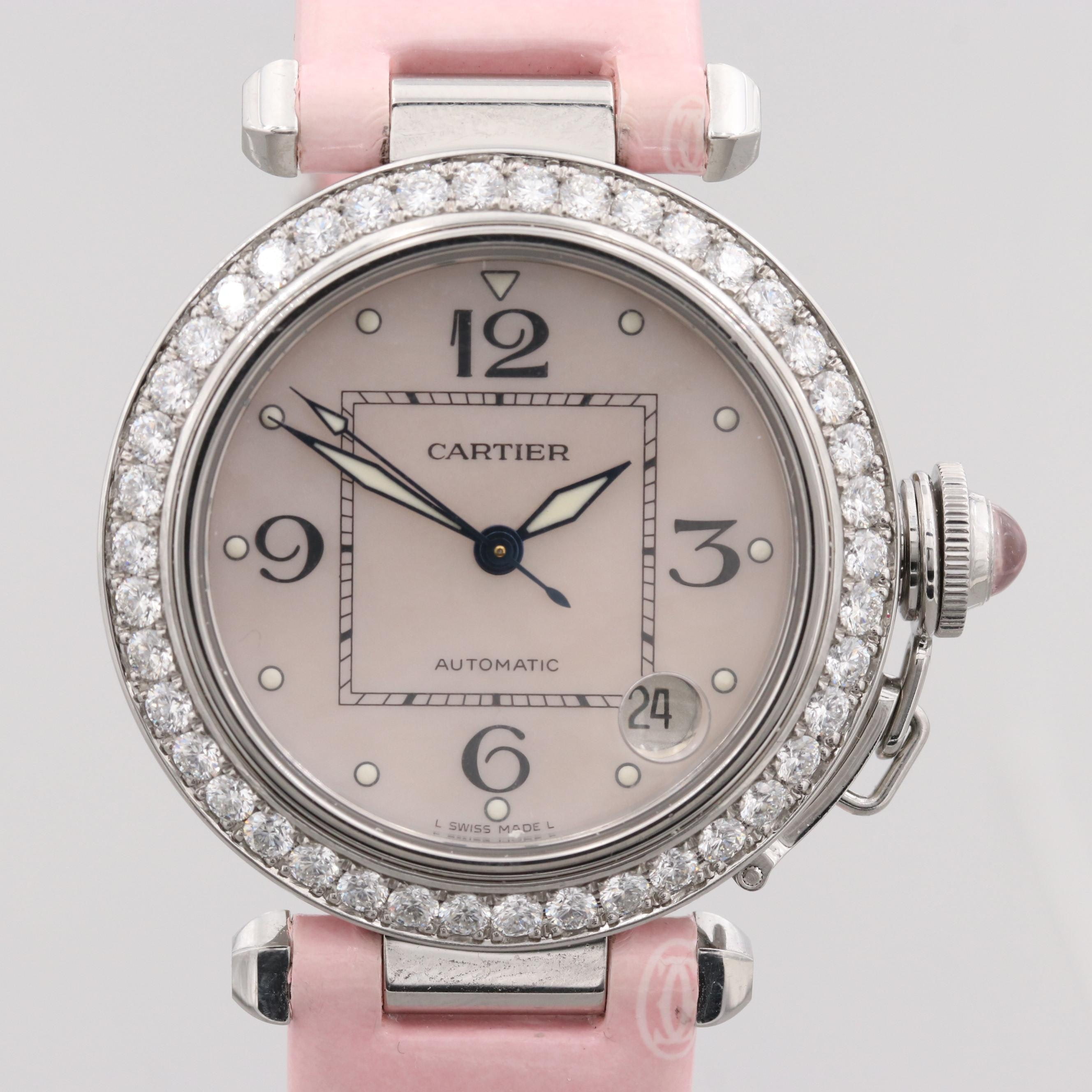 Pasha de Cartier Automatic Wristwatch With 1.89 CTW Diamond Bezel