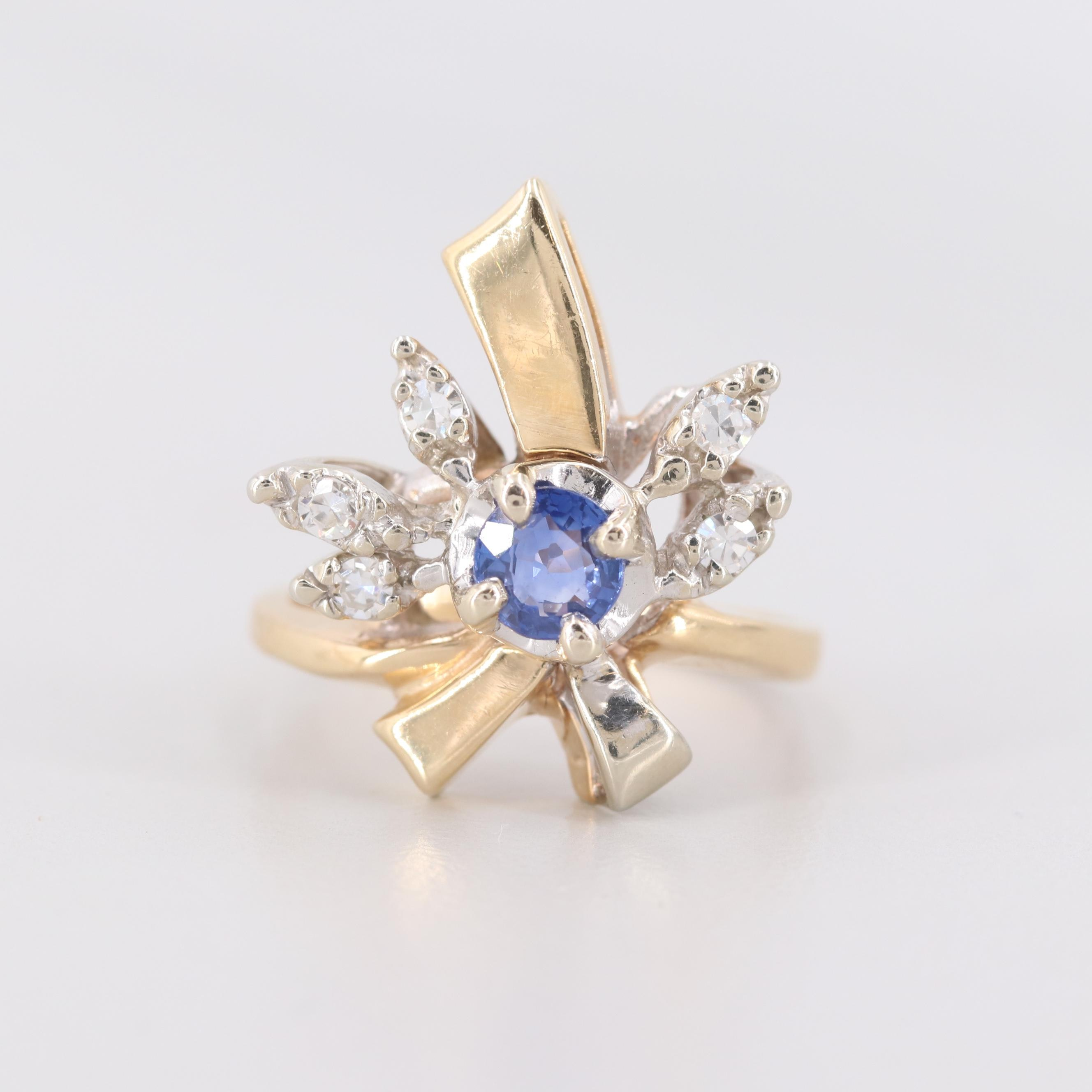 14K Yellow Gold Sapphire and Dimaond Ring