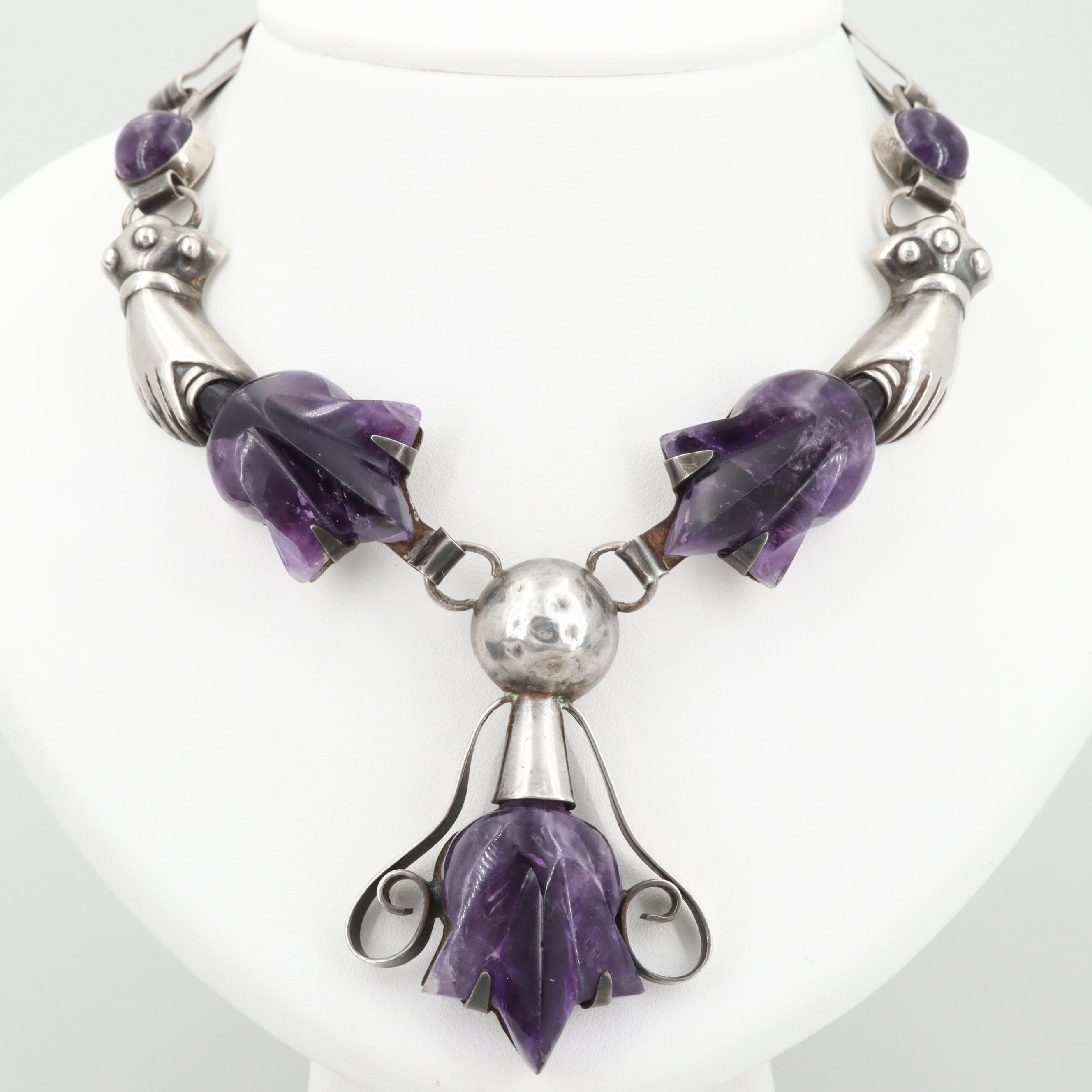 Circa 1940s Mexico Sterling Silver Amethyst Necklace