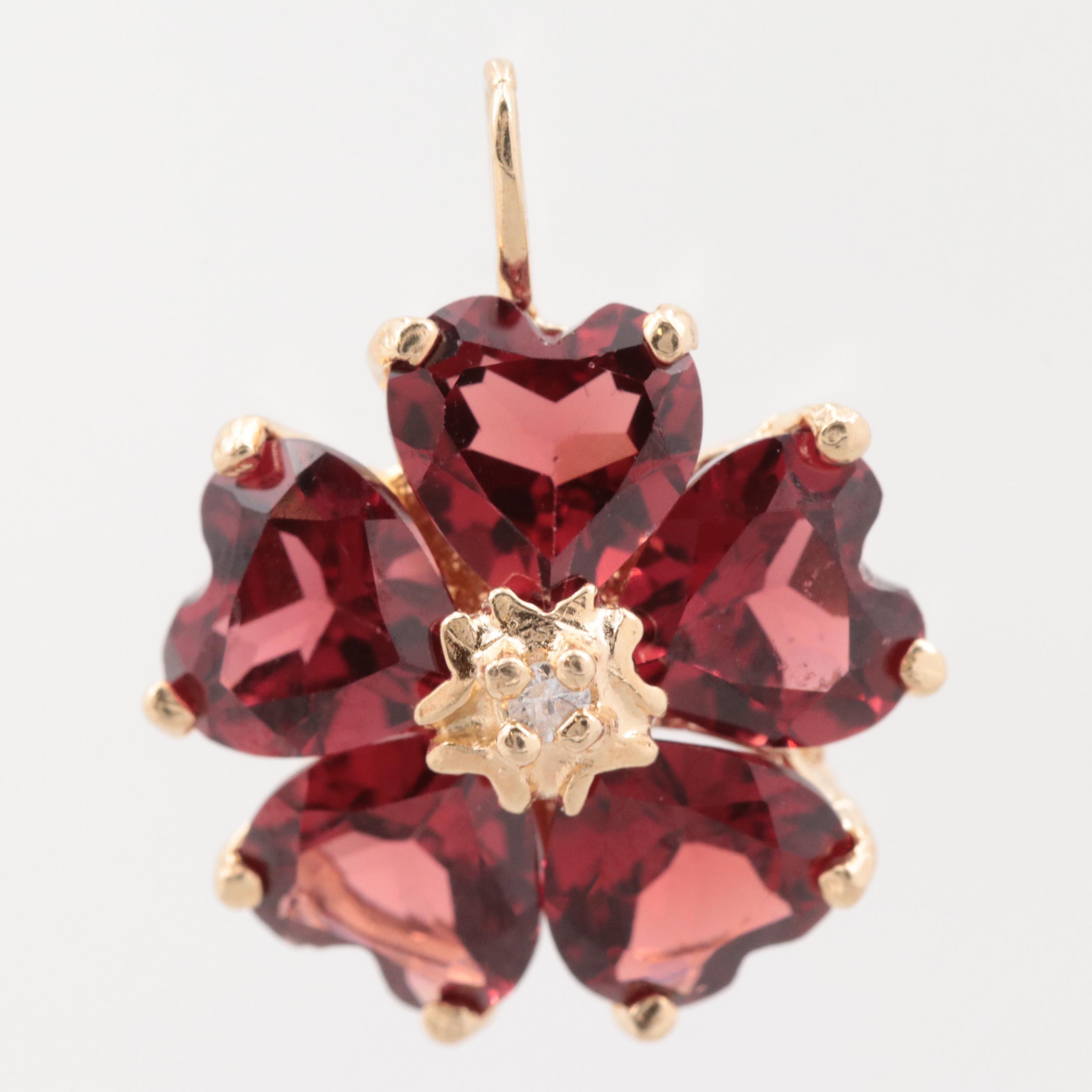 14K Yellow Gold Diamond and Garnet Flower Pendant
