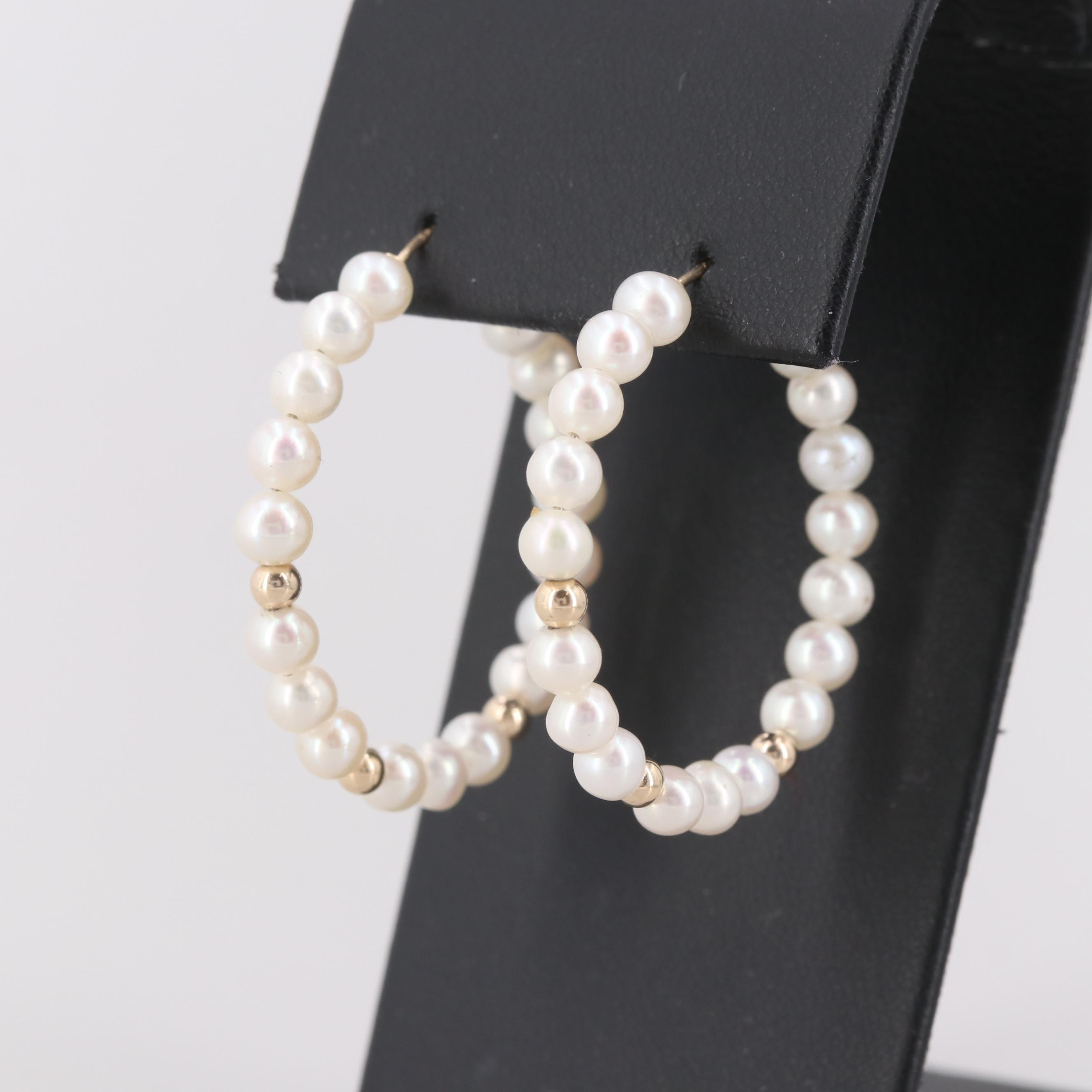 14K Yellow Gold Cultured Pearl Hoop Earrings