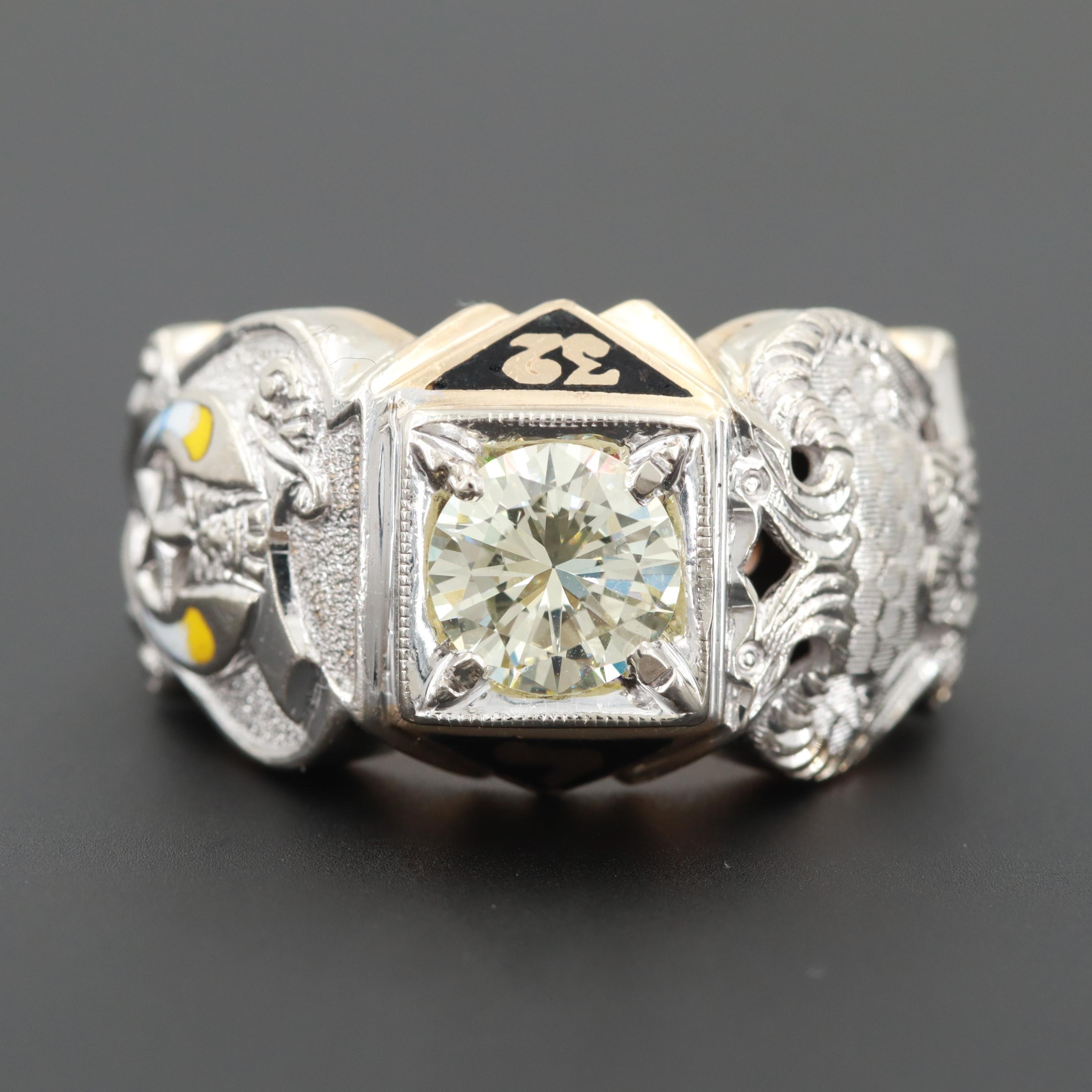 14K White and Yellow Gold 1.32 CT Diamond and Enamel 32nd Degree Masonic Ring