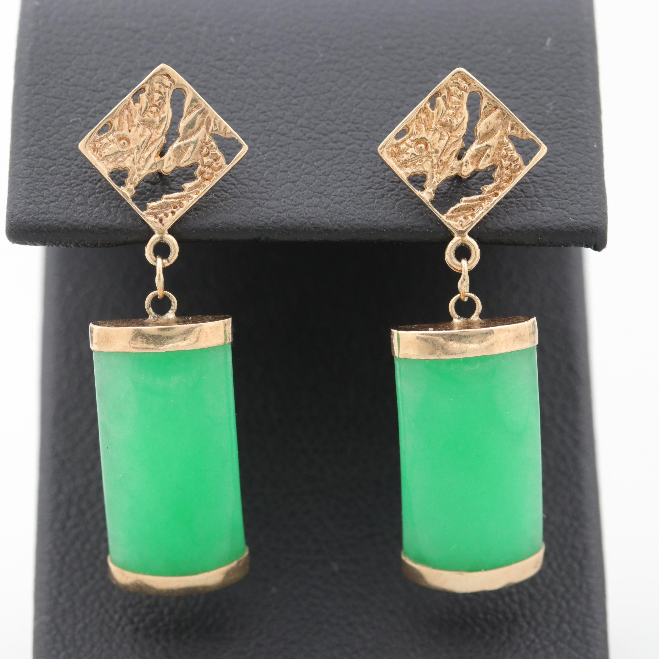 14K Yellow Gold Curved Dome Jadeite Earrings