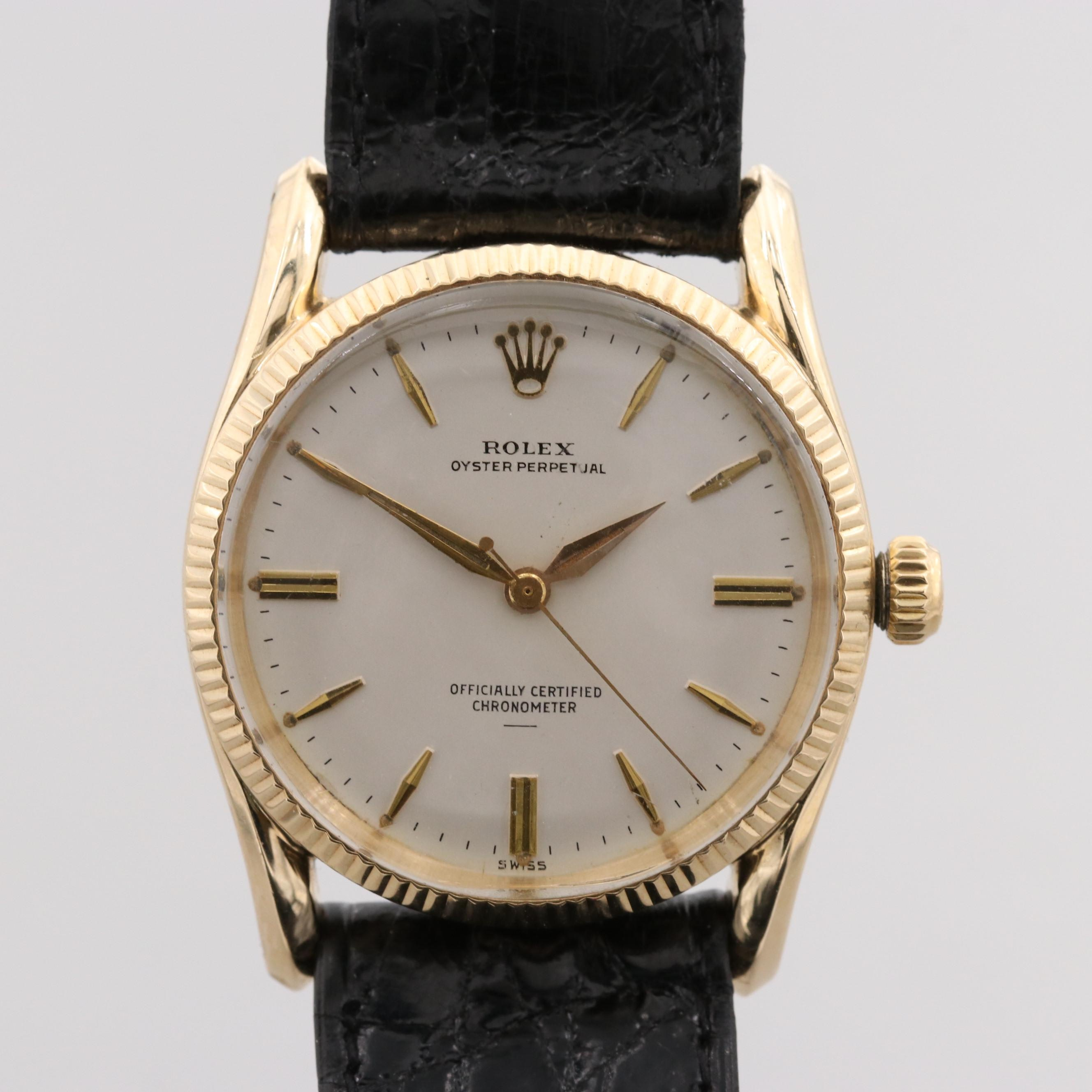 "Rolex Oyster Perpetual ""Bombay"" 14K Yellow Gold Wristwatch"