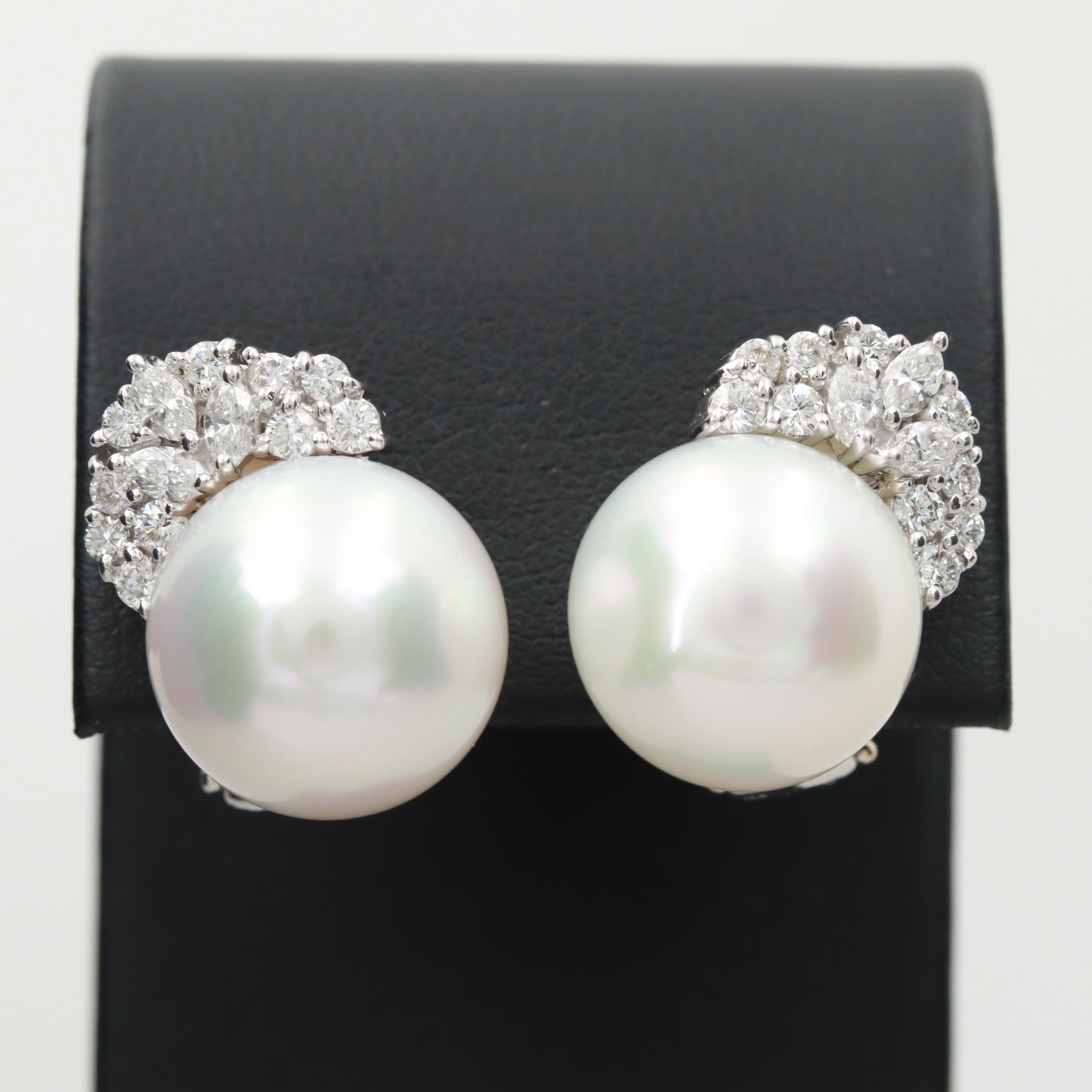 18K White Gold Cultured Pearl and 1.06 CTW Diamond Earrings
