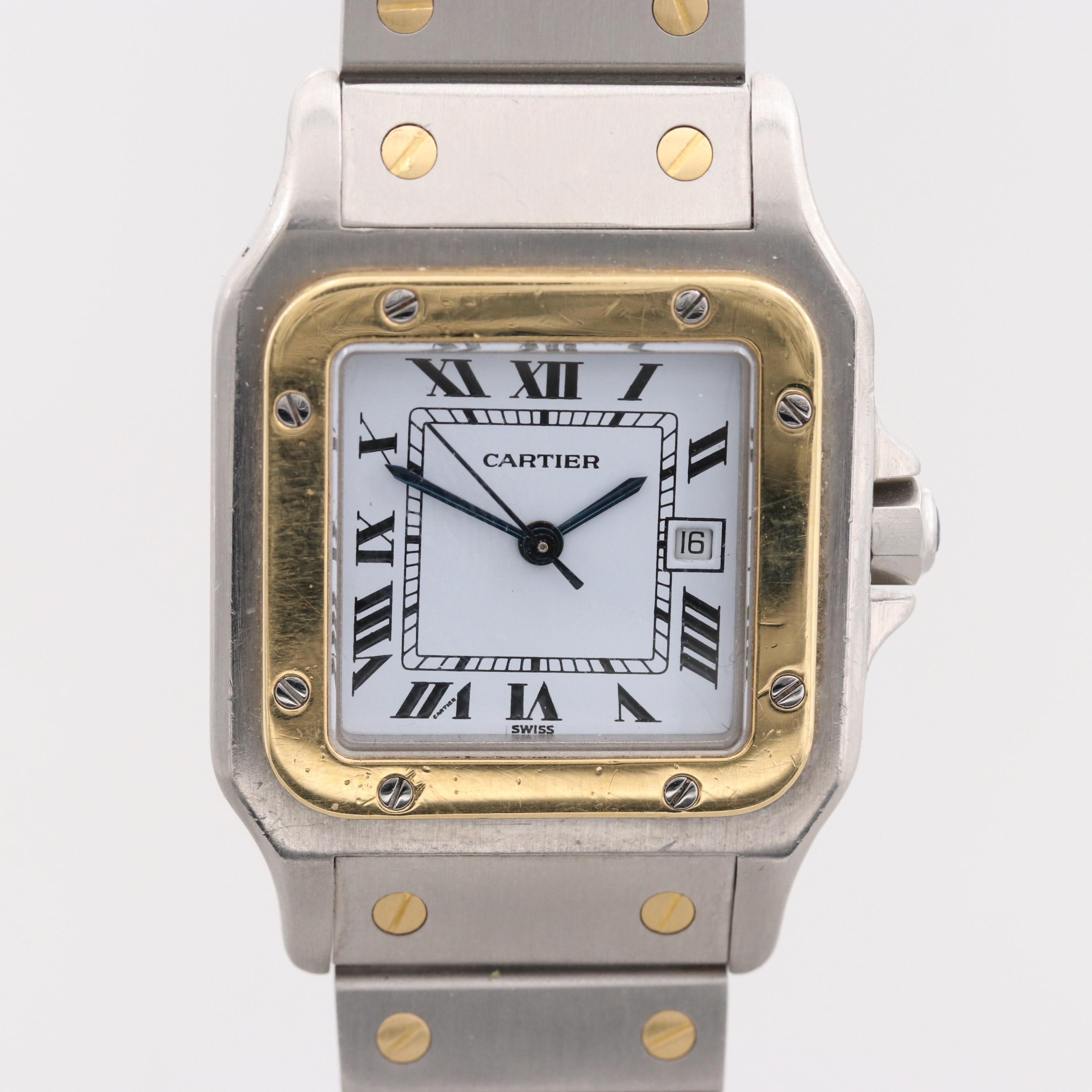 Santos de Cartier Stainless Steel and 18K Yellow Gold Automatic Wristwatch