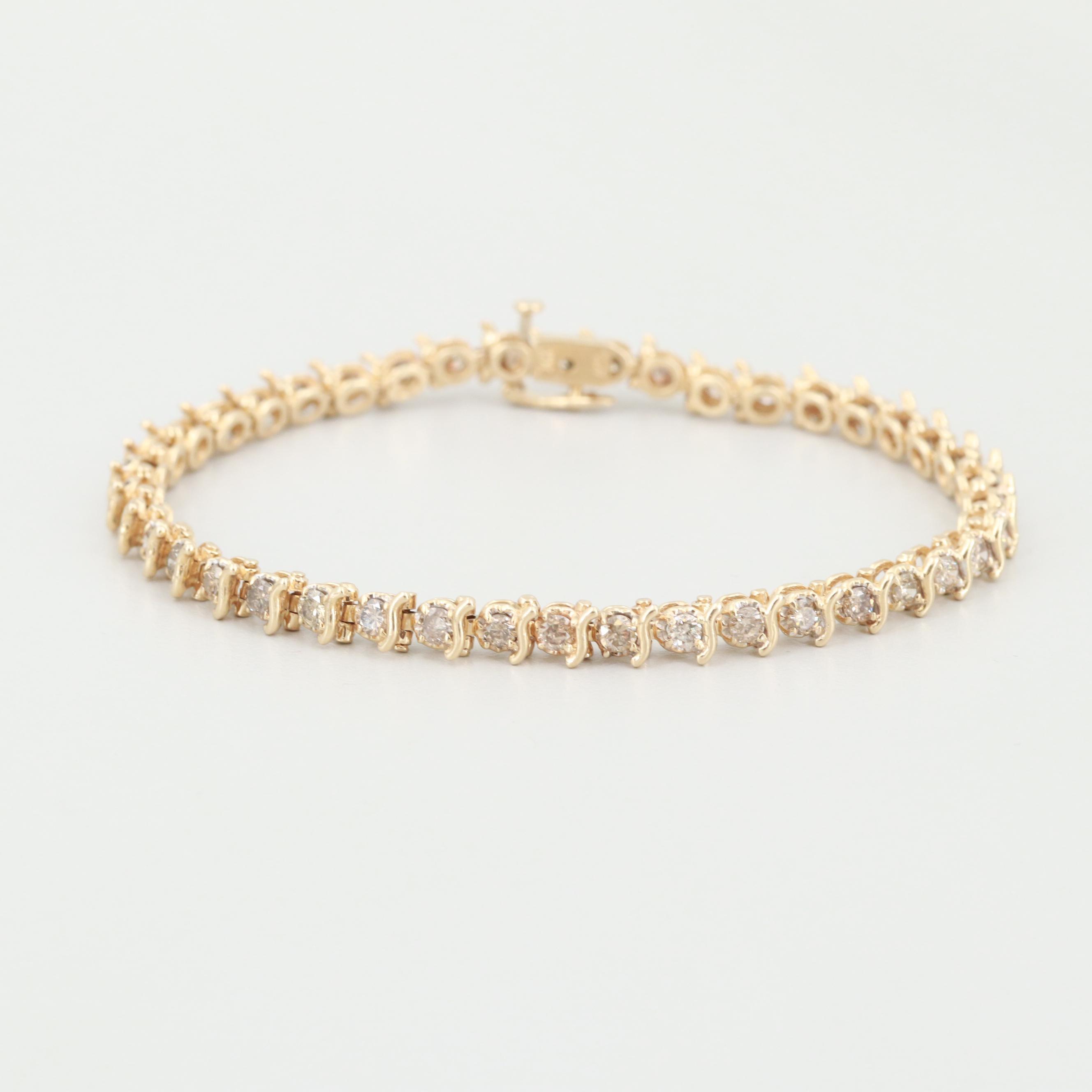 14K Yellow Gold 3.00 CTW Diamond Bracelet