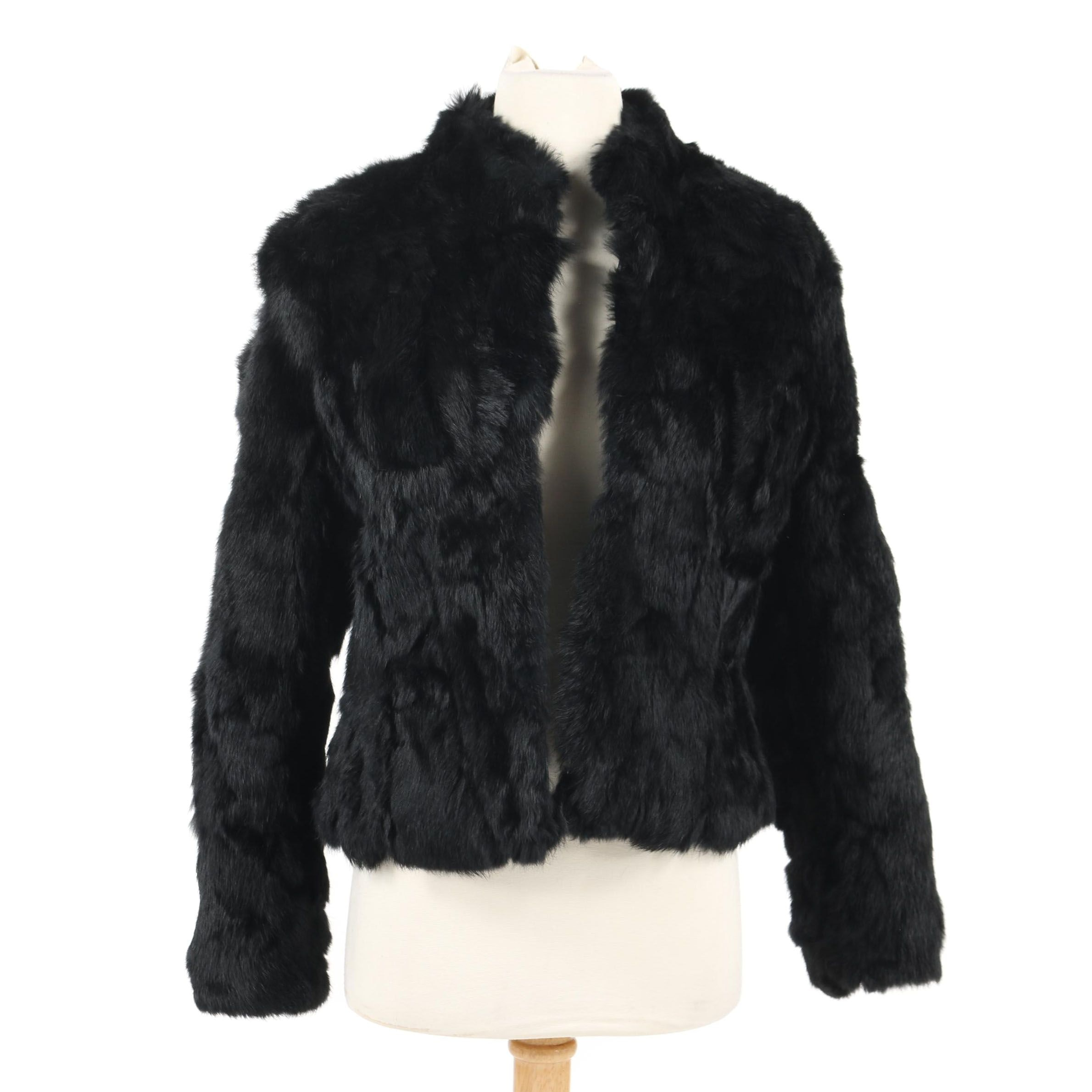 Women's LW Black Rabbit Fur Jacket