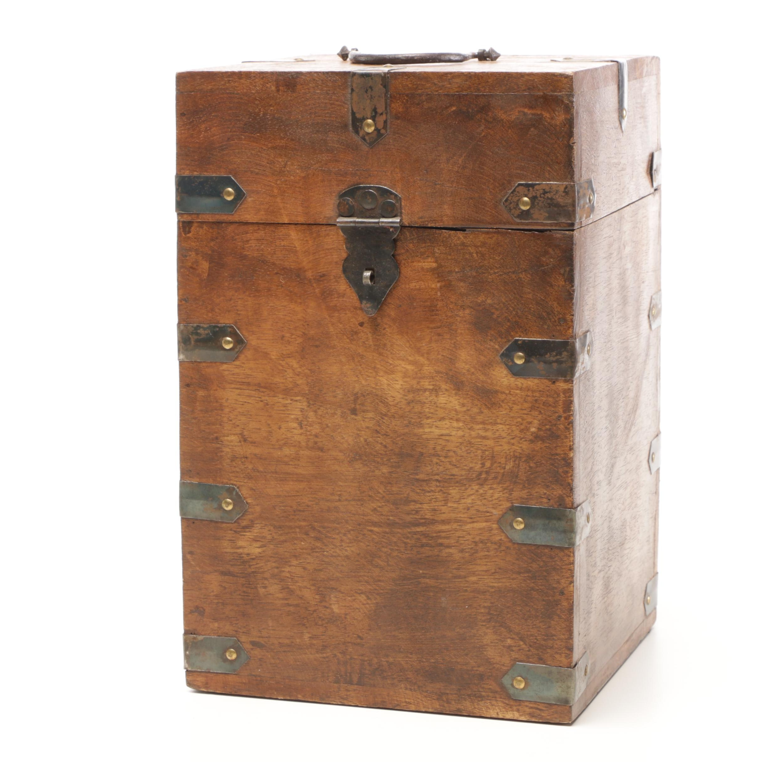 Wood Box with Four Storage Compartments