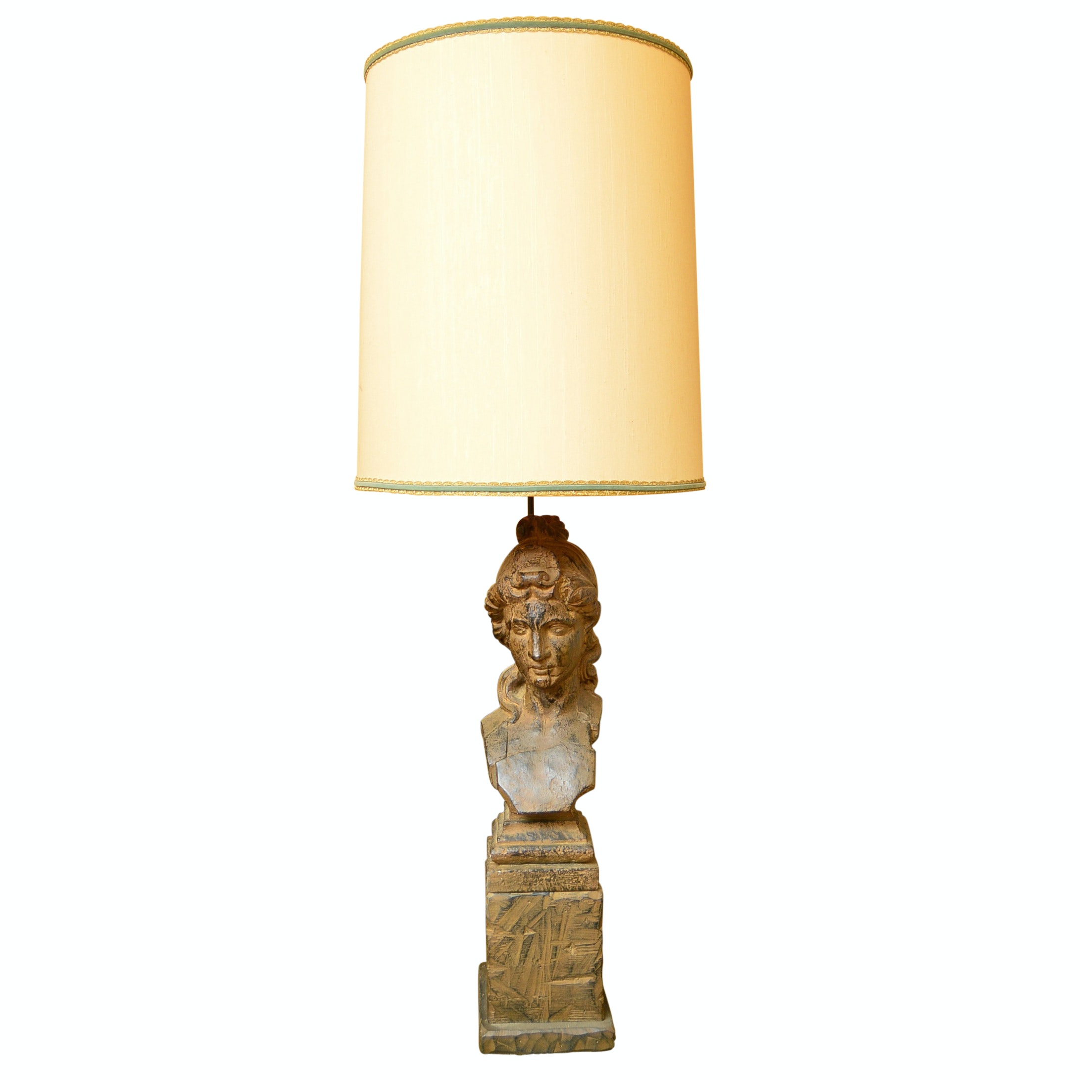 Chapman Mfg. Co. Carved Wood Figural Table Lamp