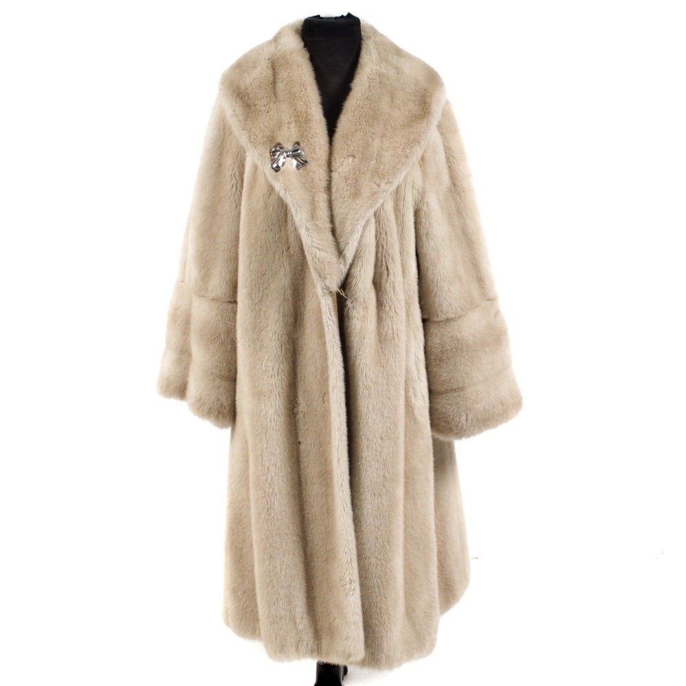 Faux Fur Full-Length Swing Coat  with Shawl Collar, Vintage