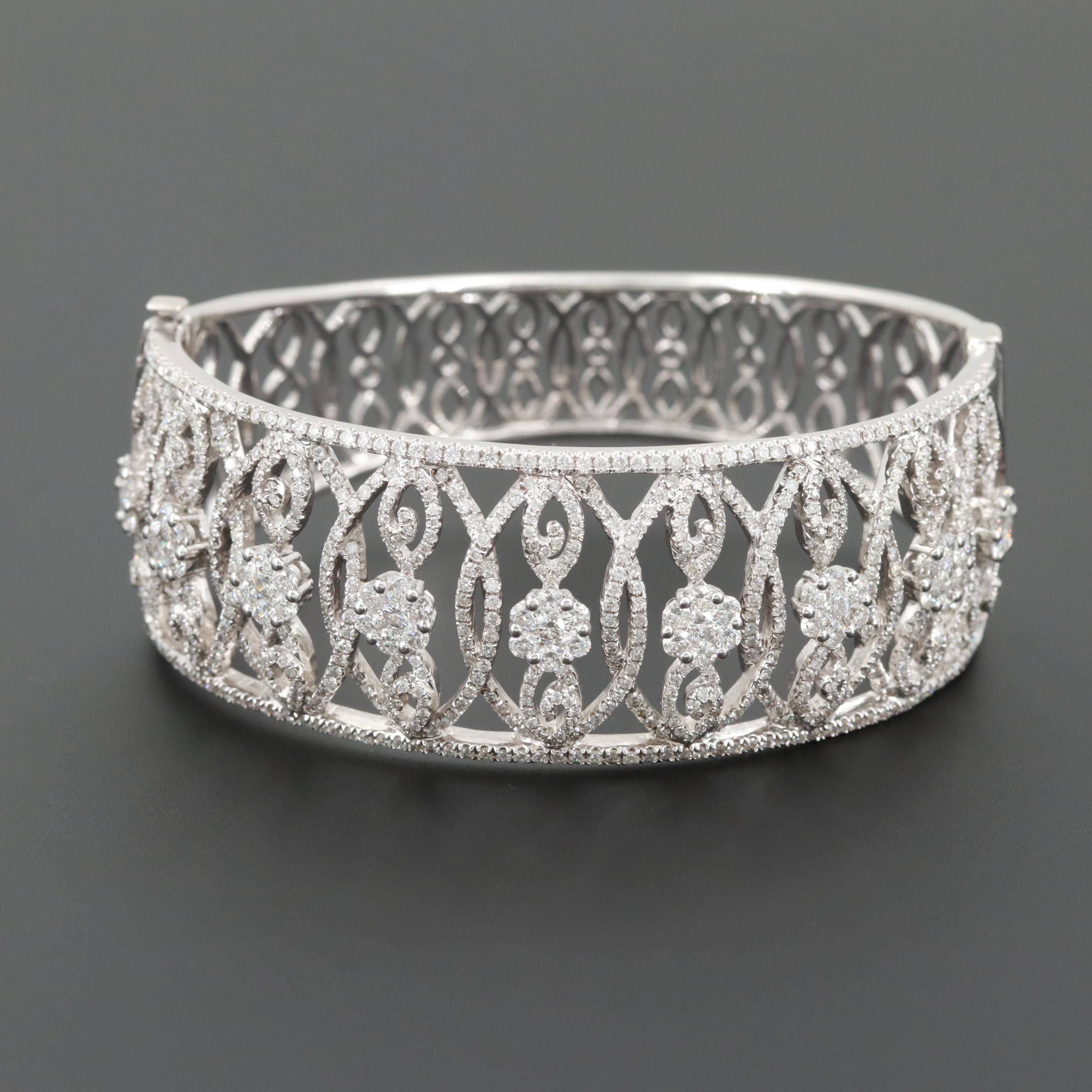 14K White Gold 6.90 CTW Diamond Bracelet