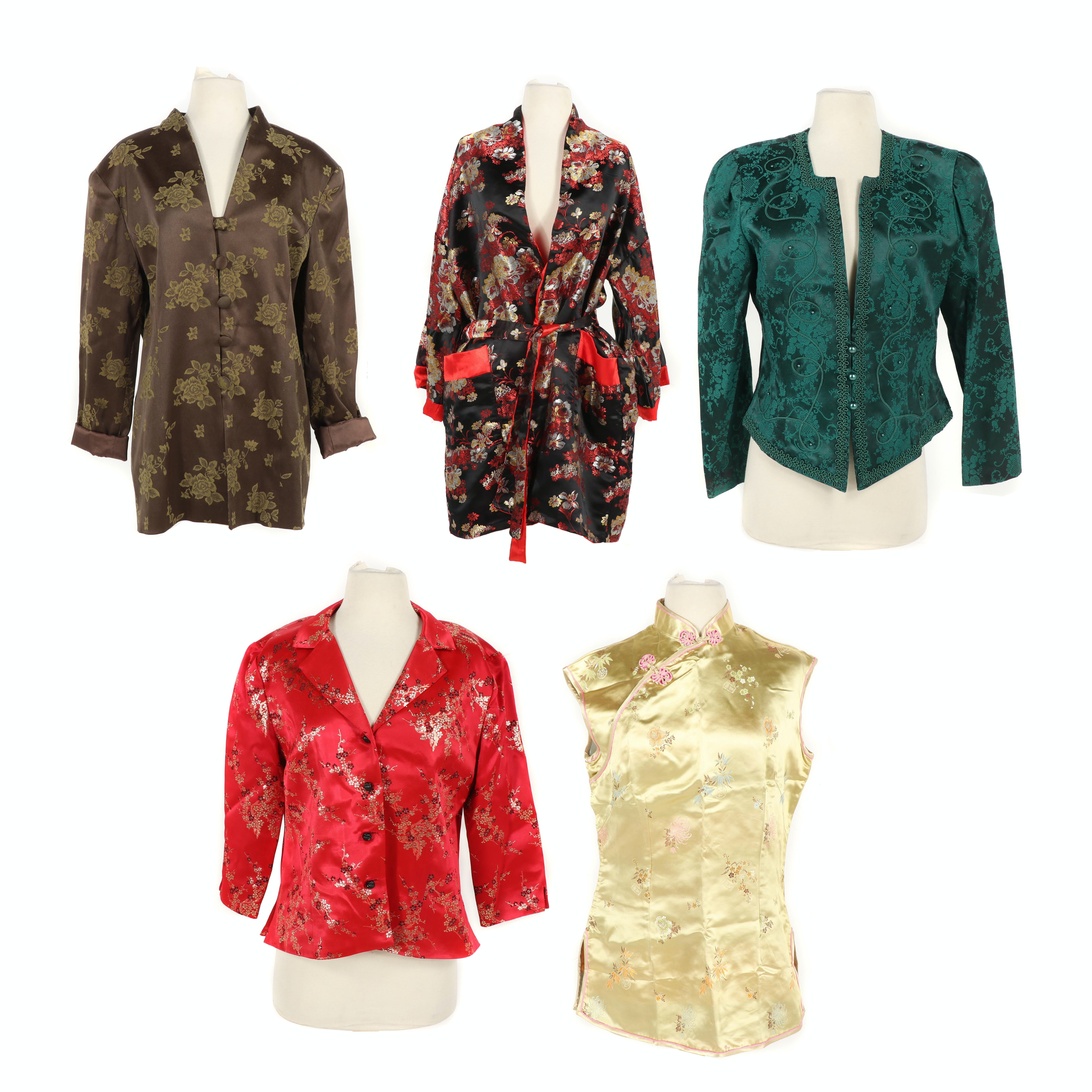 Women's Silk and Satin Brocade Jackets, Robes and Vest Including Asian-Inspired