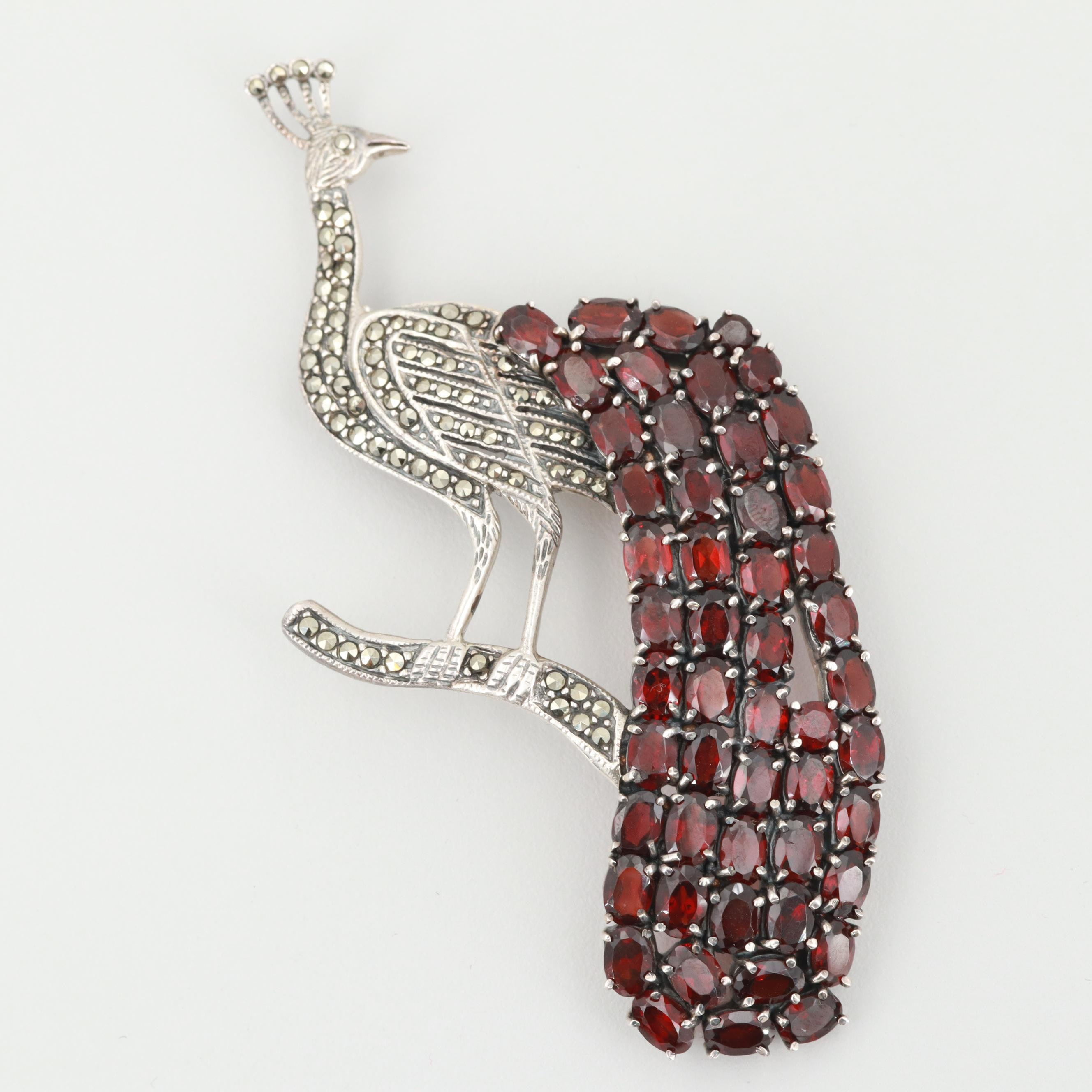Sterling Silver Garnet and Marcasite Peacock Brooch