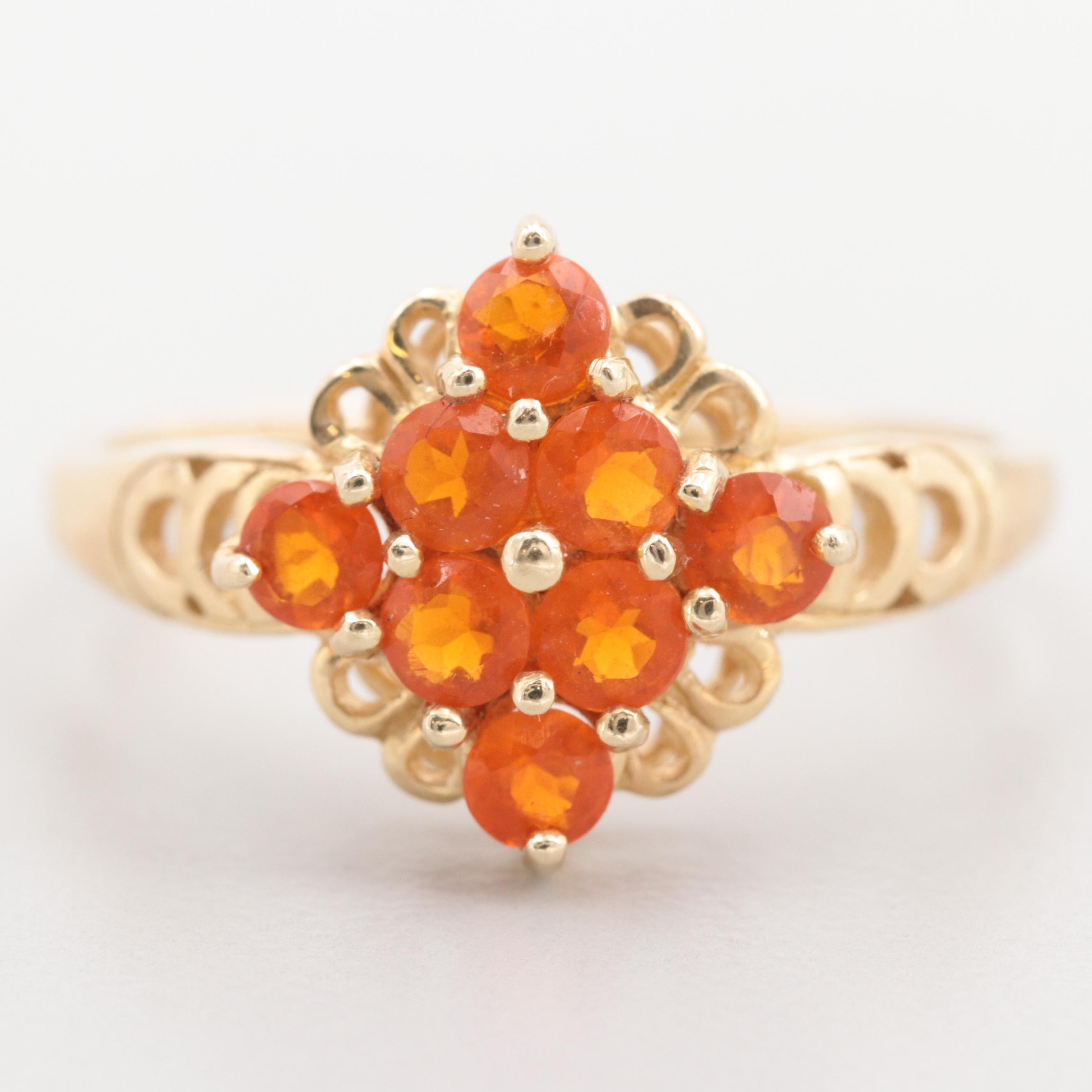 14K Yellow Gold Fire Opal Cluster Ring
