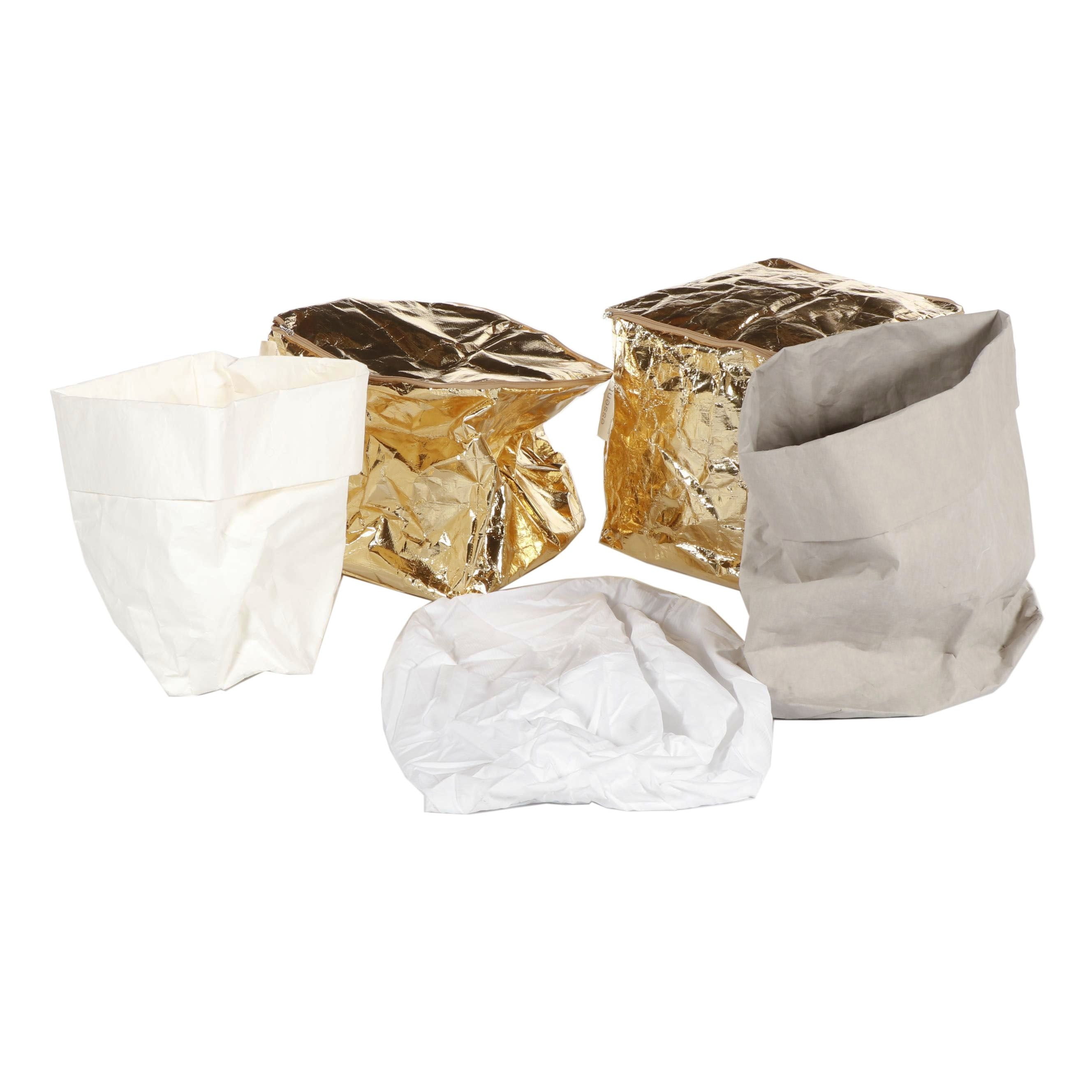 Essent'ial Golden Foil Eco Poufs and Saccone Keeper Sacks, 21st Century