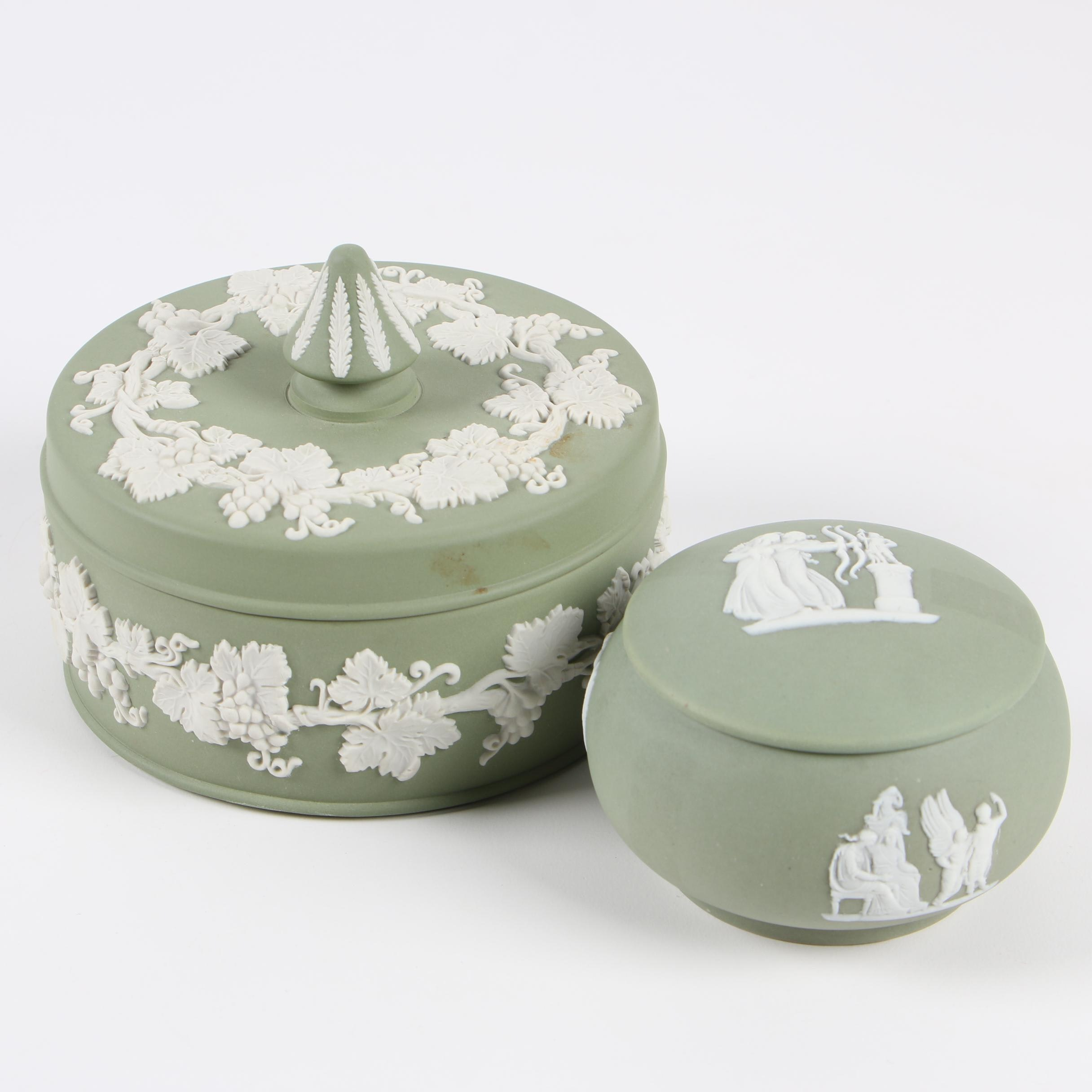 """Wedgwood """"Cream on Celadon"""" Jasperware Candy and Round Boxes"""