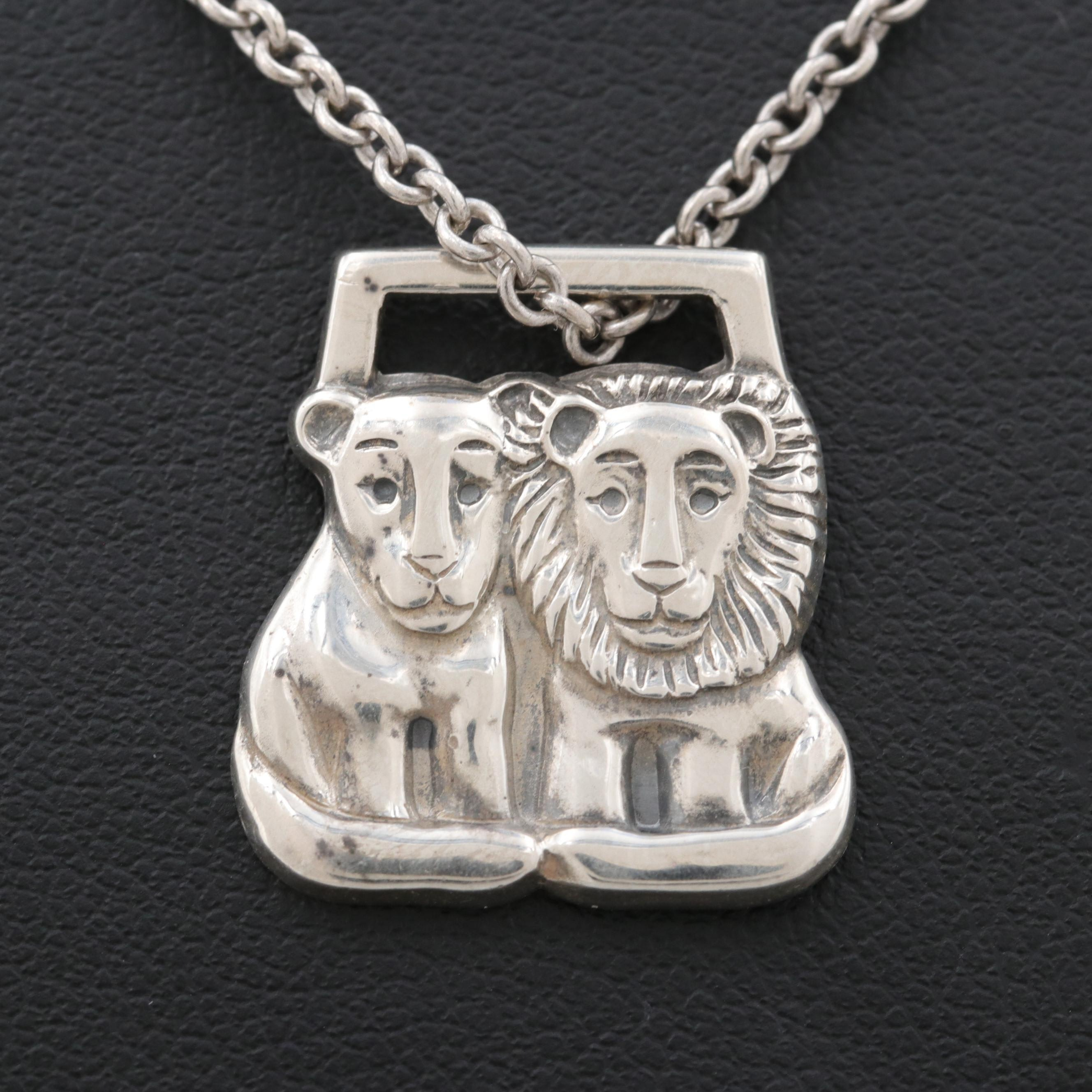 James Avery Sterling Silver Lion Pendant Necklace