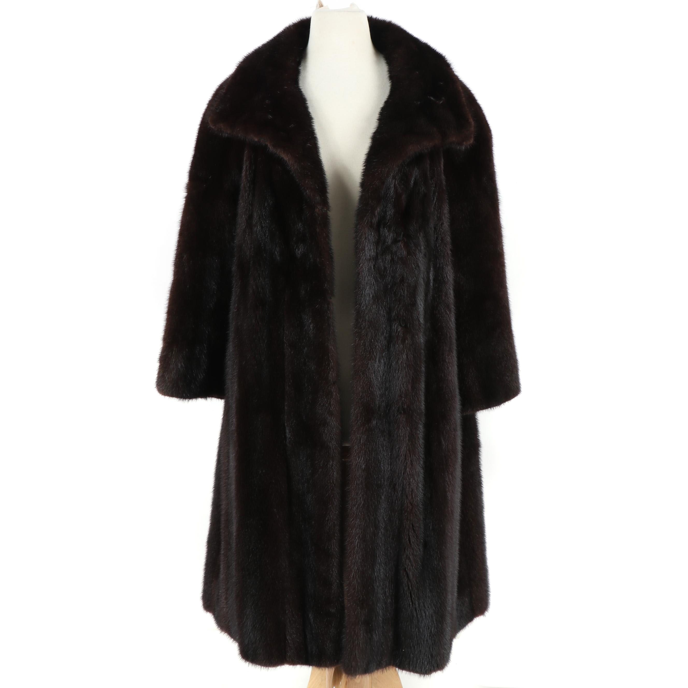 Women's Dark Mahogany Mink Fur Coat from The Evans Collection, Vintage