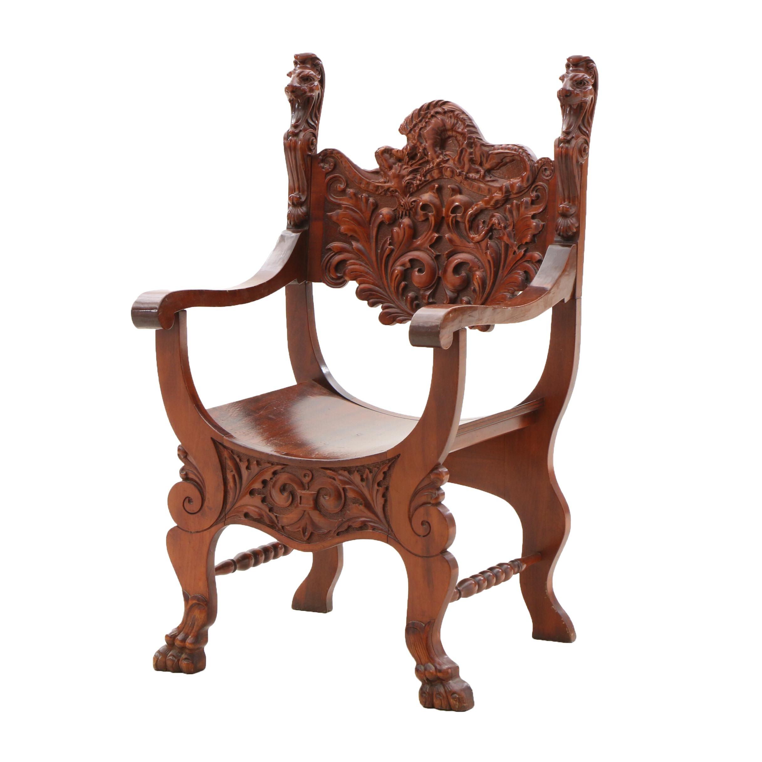 Ornately Carved Birch Arm Chair, Circa 1900
