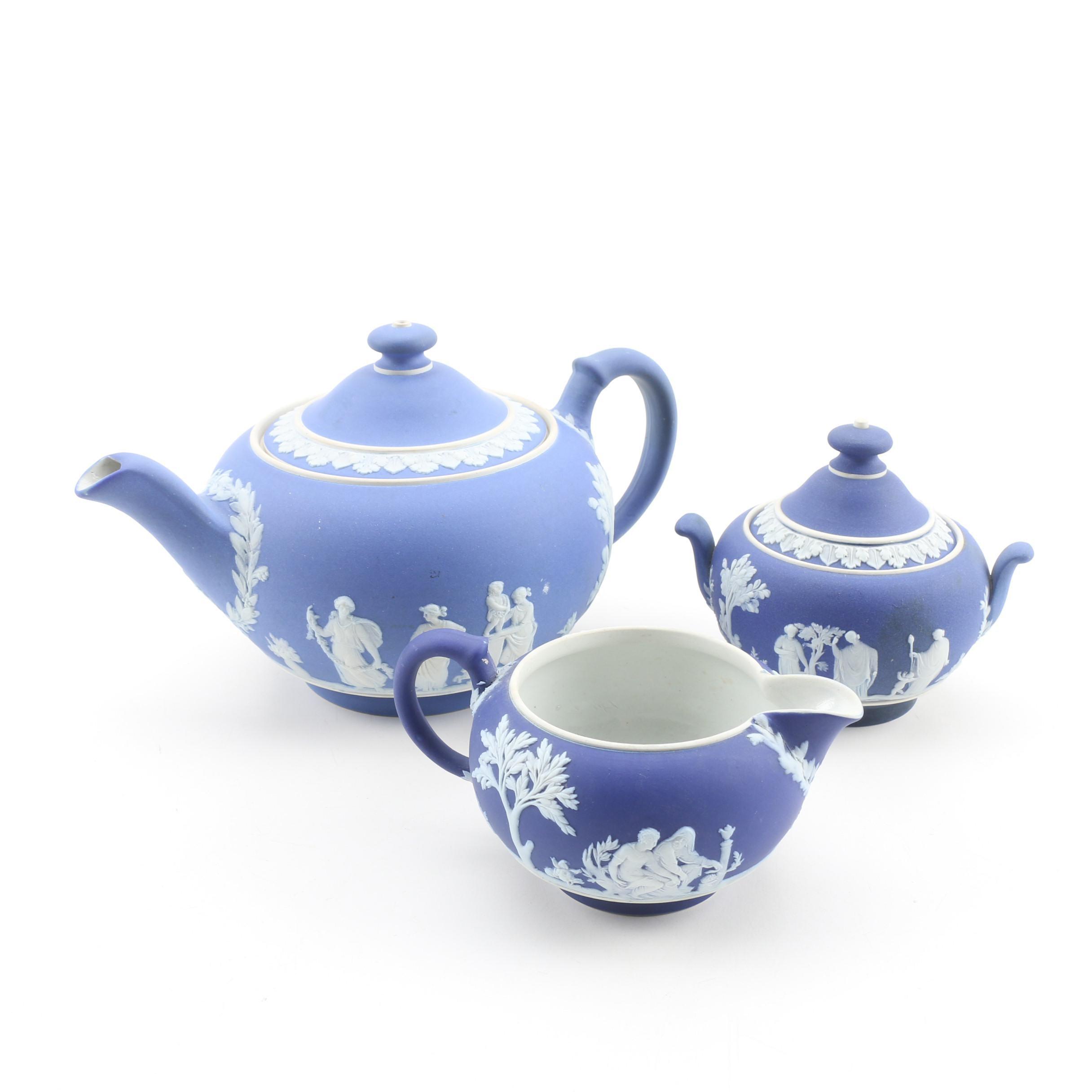 "Wedgwood ""Cream on Portland Blue"" Jasperware Teapot, Creamer, and Sugar Bowl"