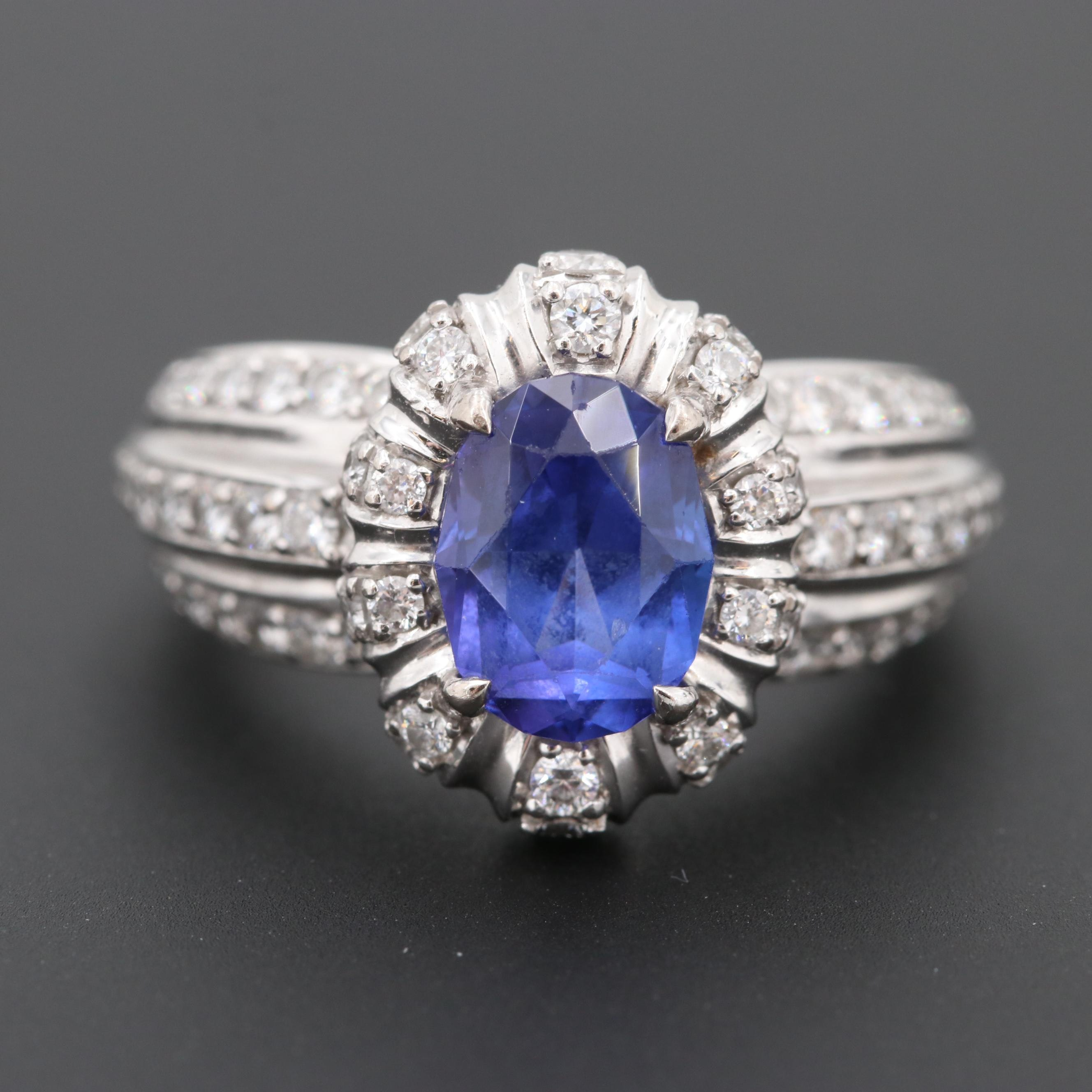 Kat Florence 18K White Gold Tanzanite and Diamond Ring with Modified Shank