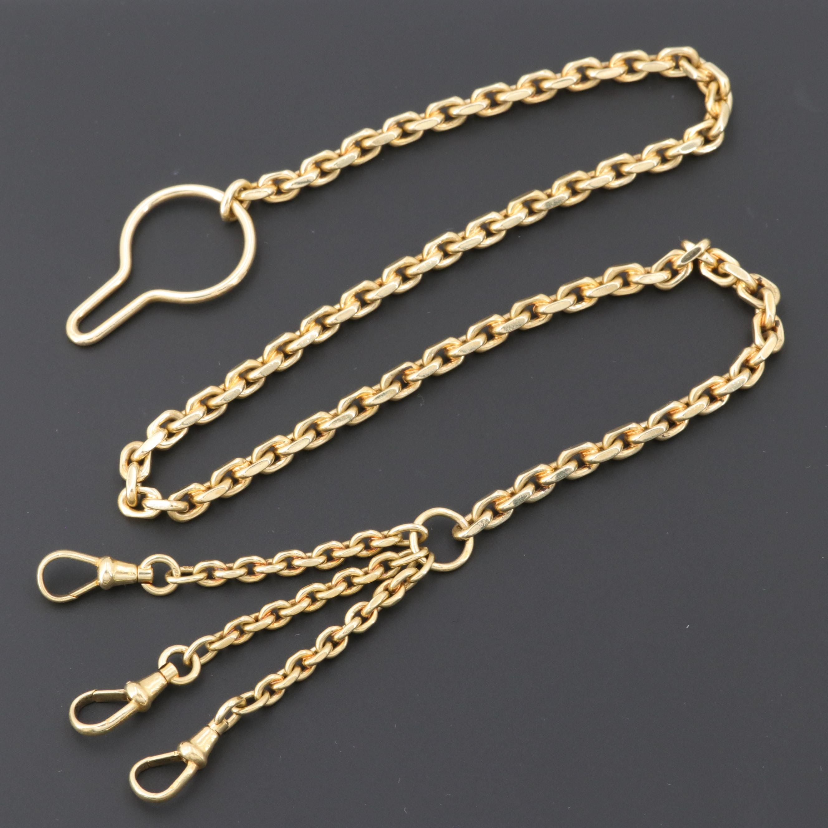 18K Yellow Gold Triple Watch Chain