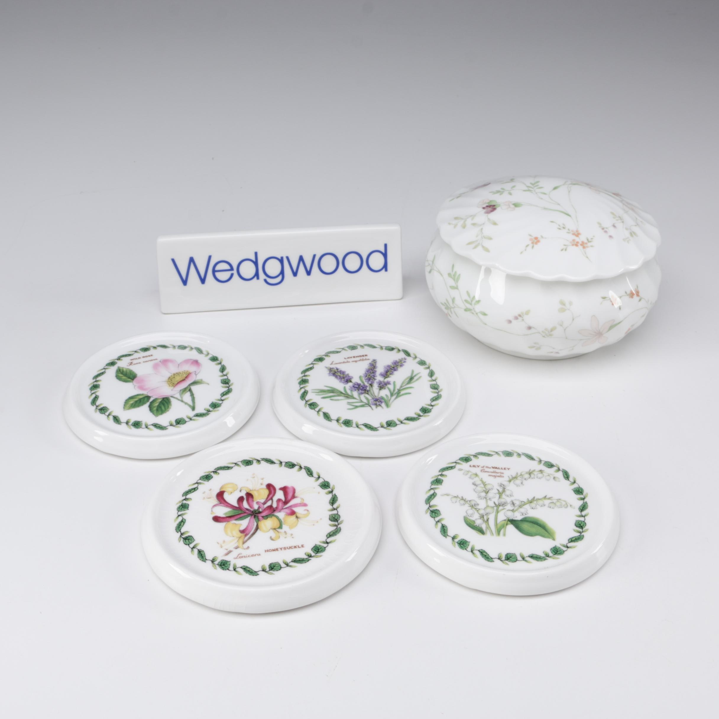 """Wedgwood """"Campion"""" Bone China Lidded Box with Sign and Crown Trent Coasters"""