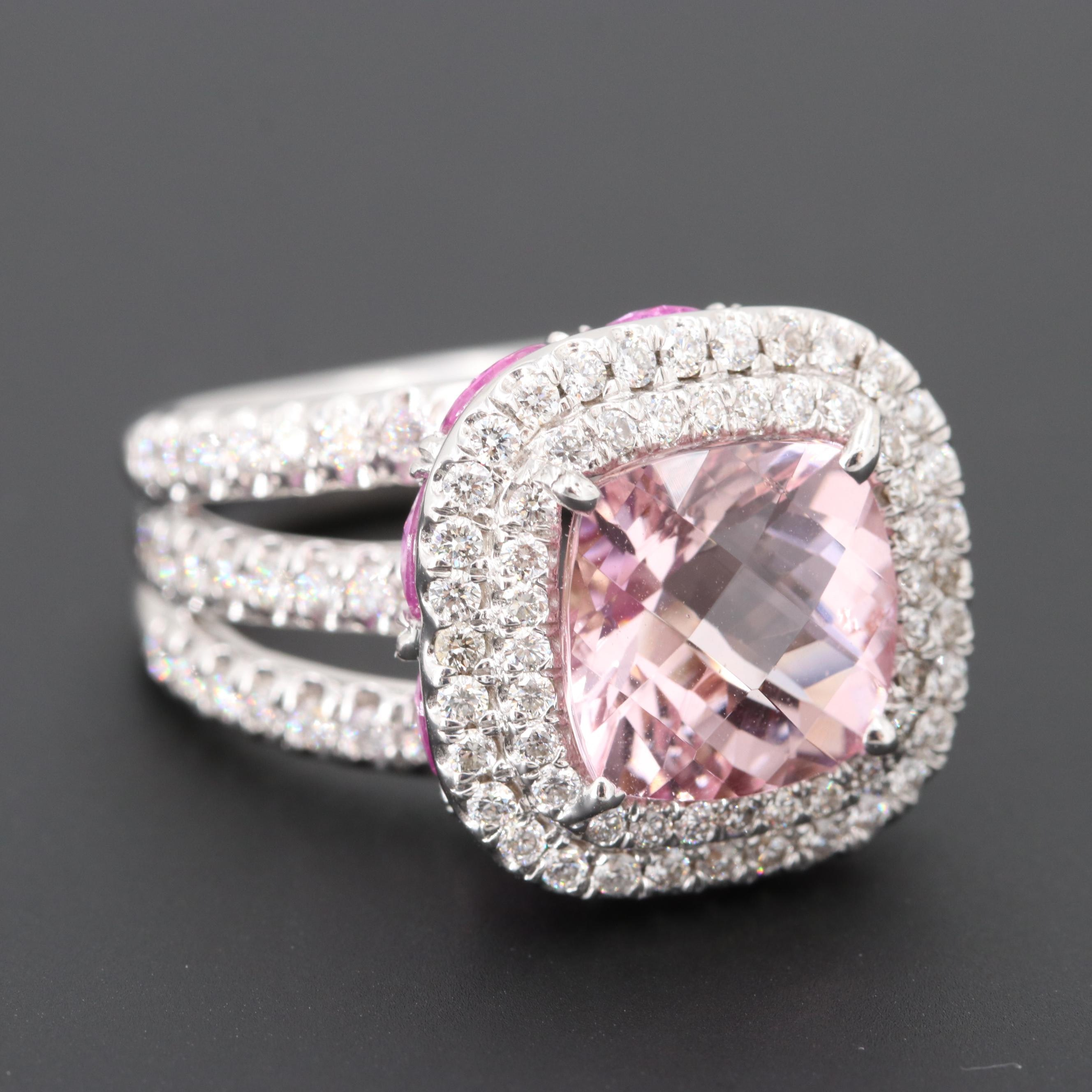 Charles Krypell 18K Gold Morganite, Pink Sapphire and 1.06 CTW Diamond Ring