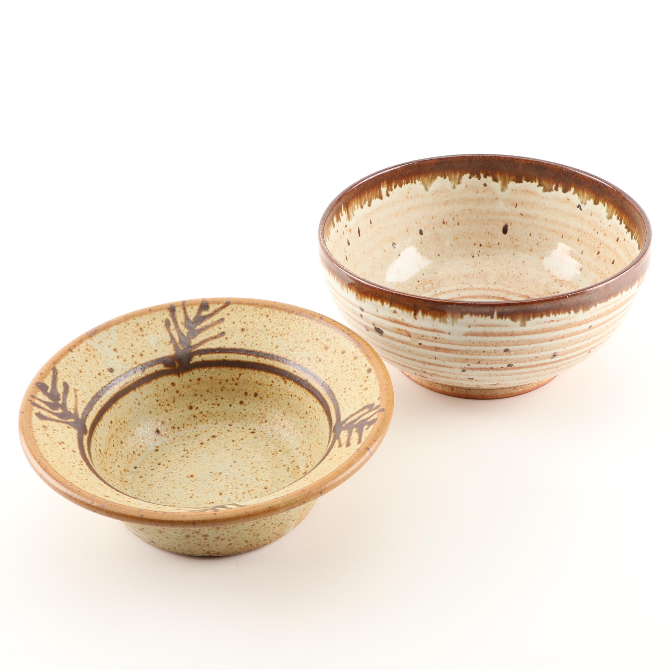 Rick Crown and Magus Wheel Thrown Stoneware Bowls