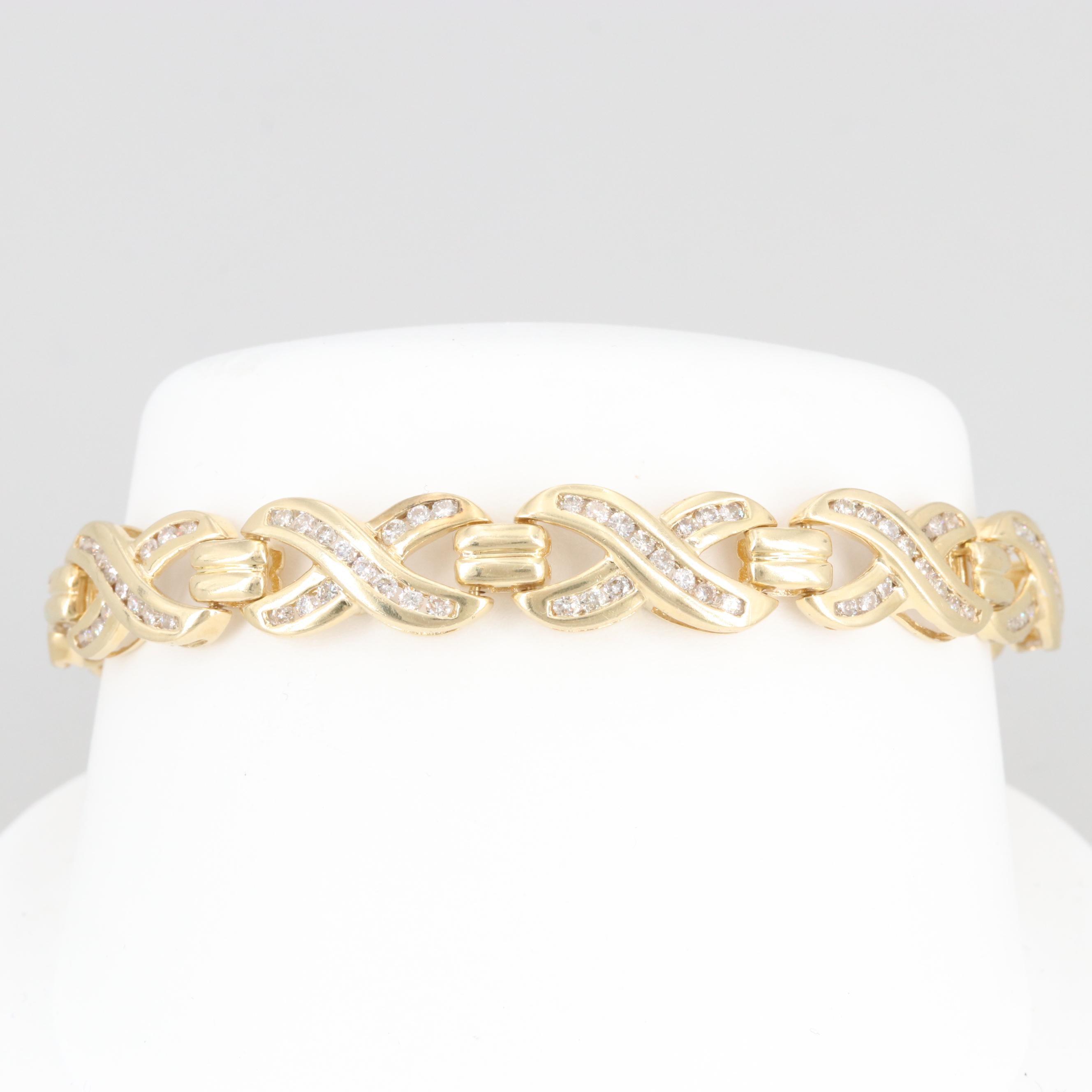 14K Yellow Gold 2.10 CTW Diamond Bracelet