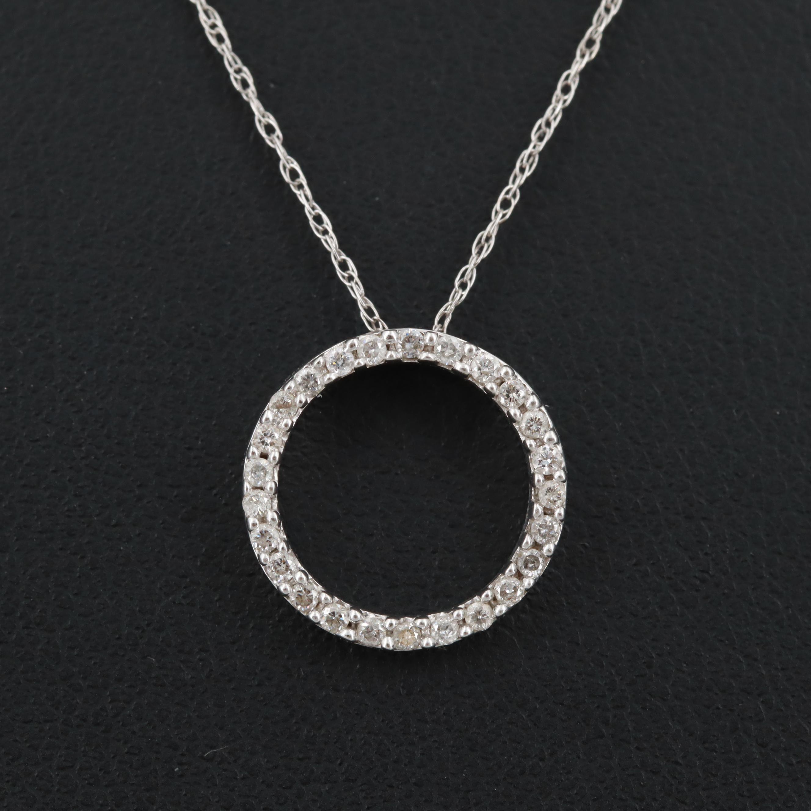 10K and 14K White Gold Diamond Pendant Necklace