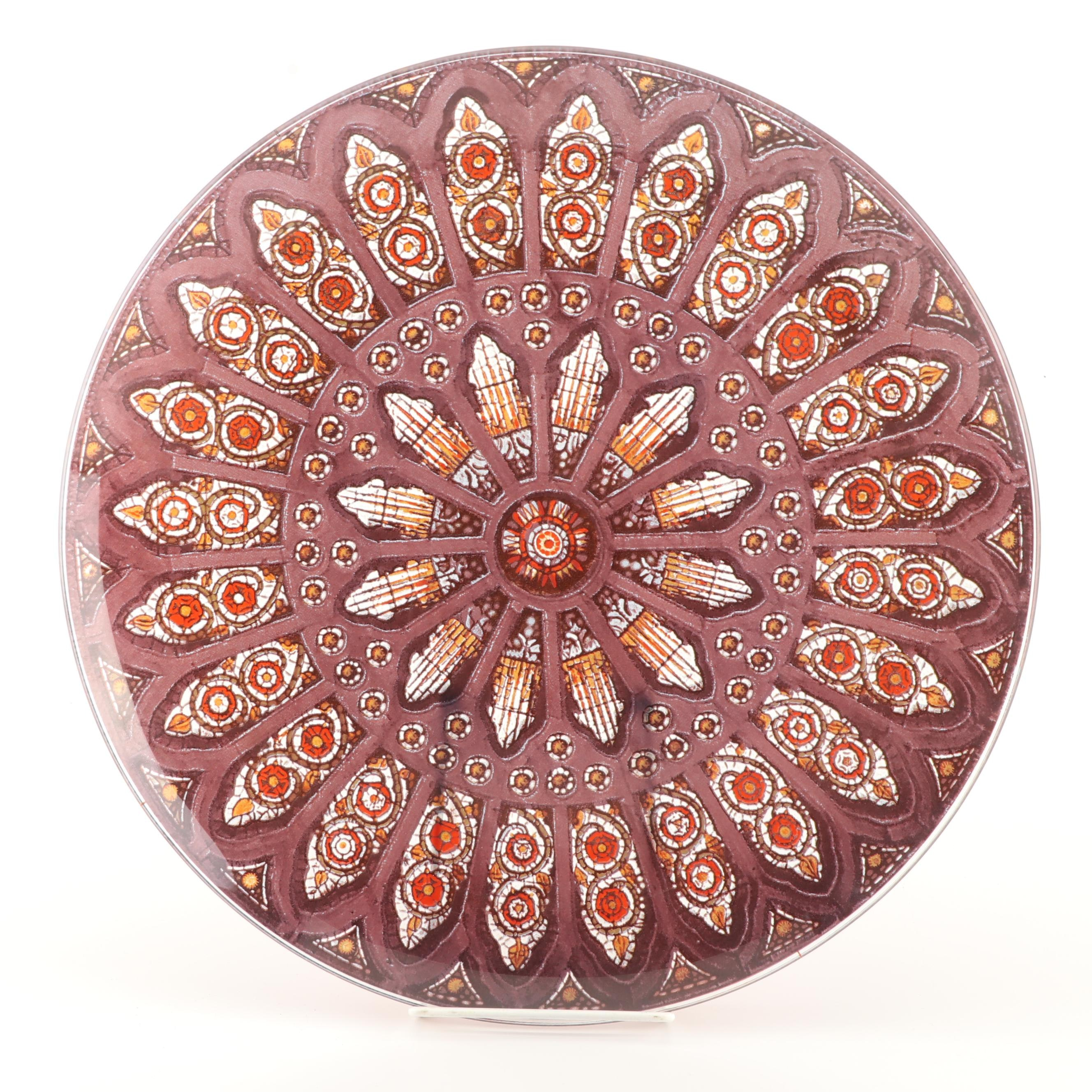 Reverse Painted Stained Glass Motif Glass Platter