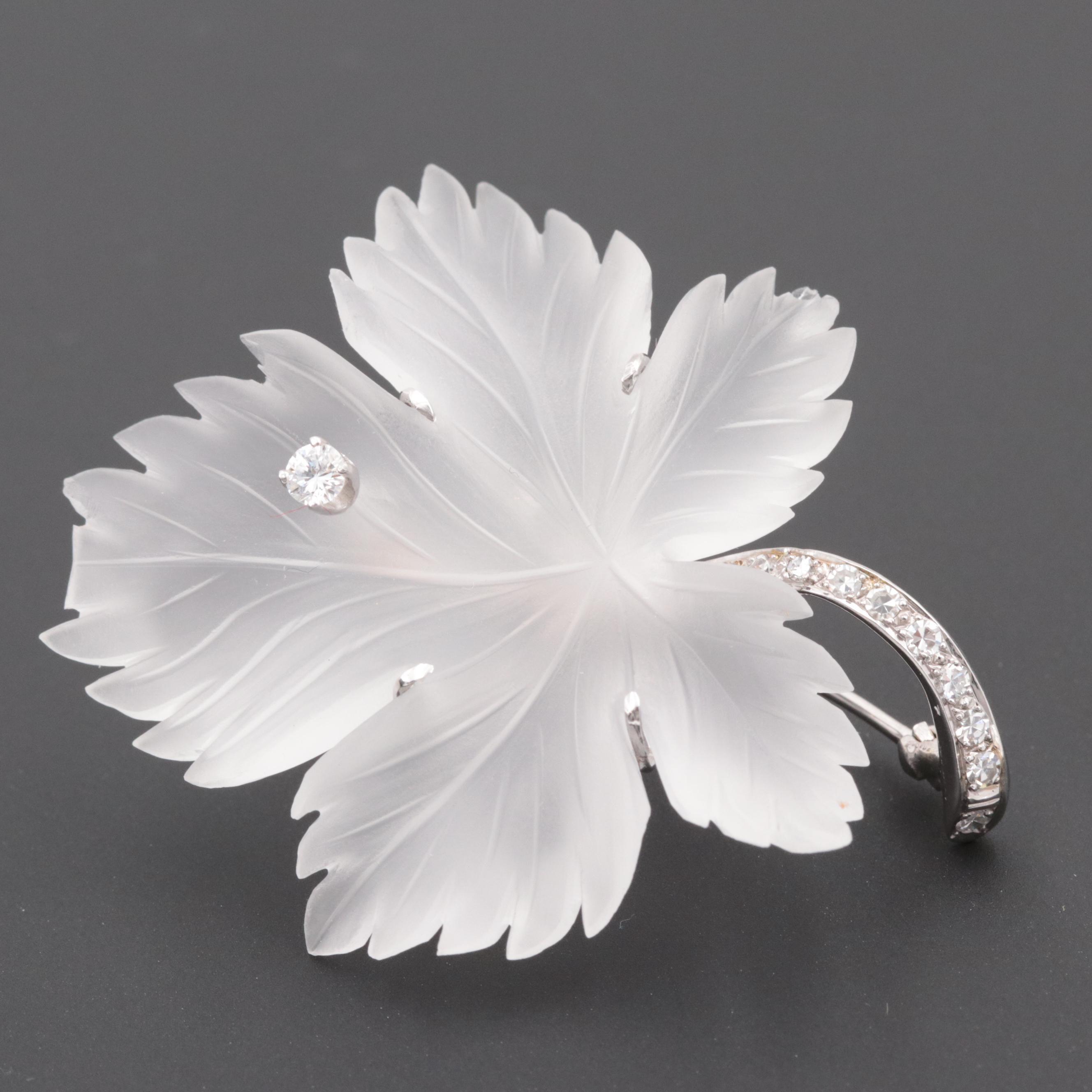 Vintage 14K White Gold Diamond and Quartz Carved Leaf Brooch