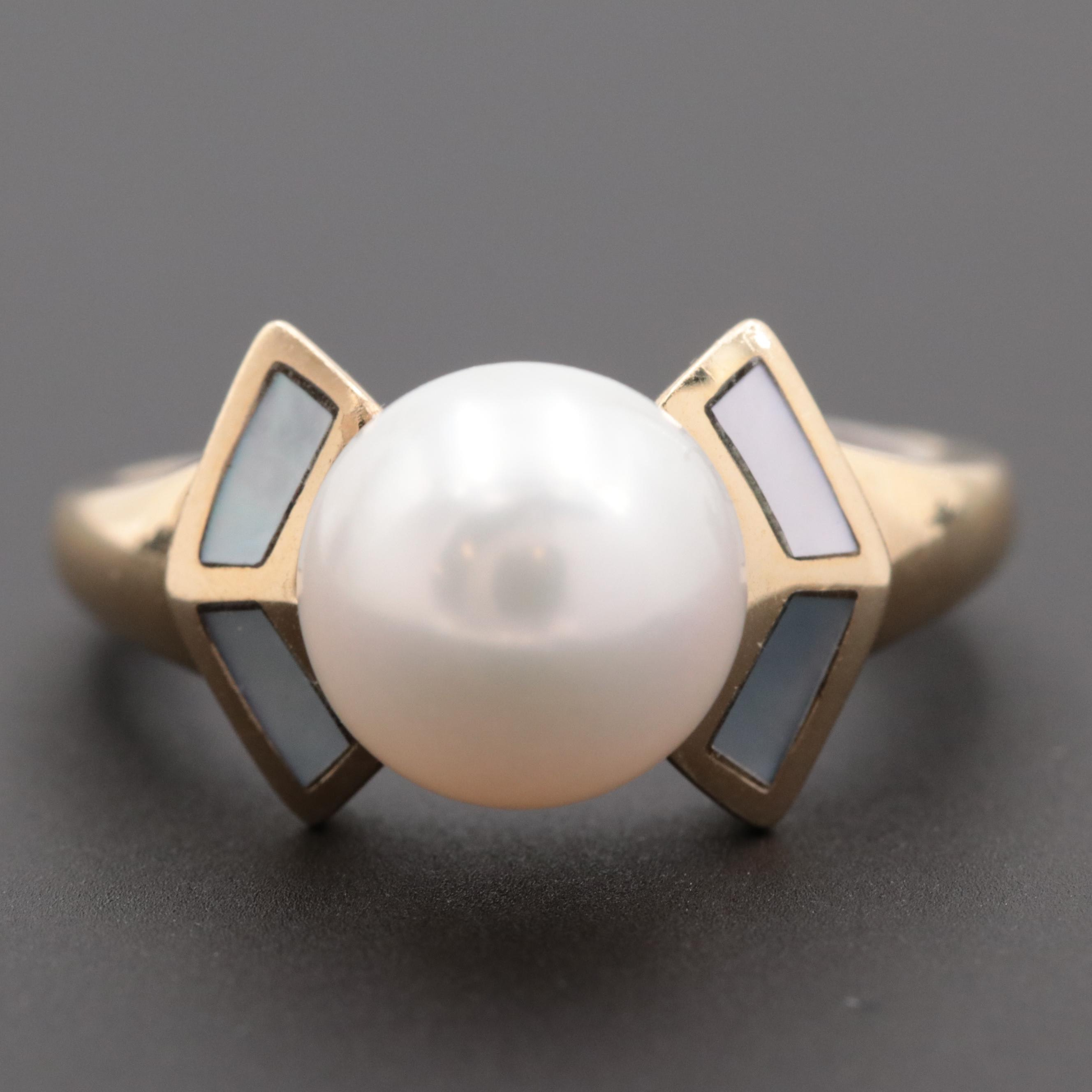 14K Yellow Gold Cultured Pearl Ring with 14K White Gold Engraved Band