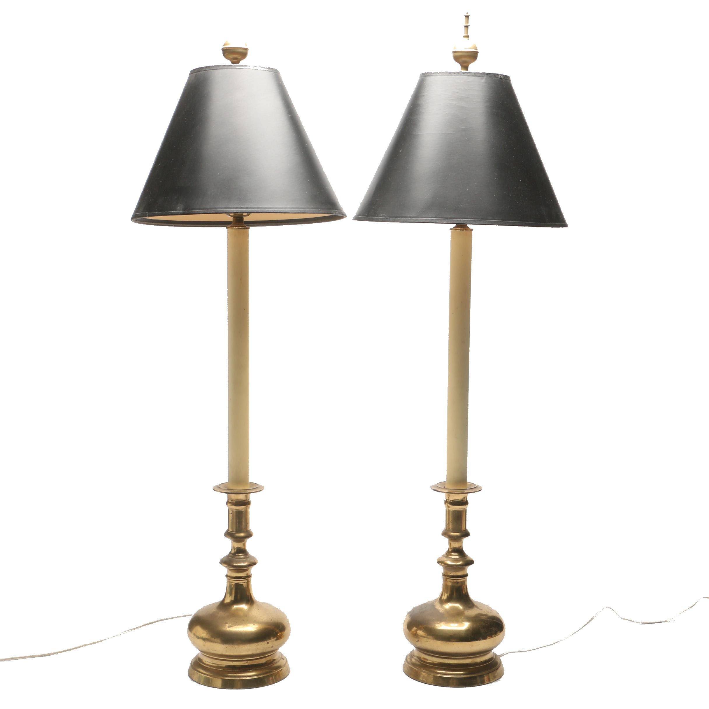 Brass Table Lamps with Black Shades