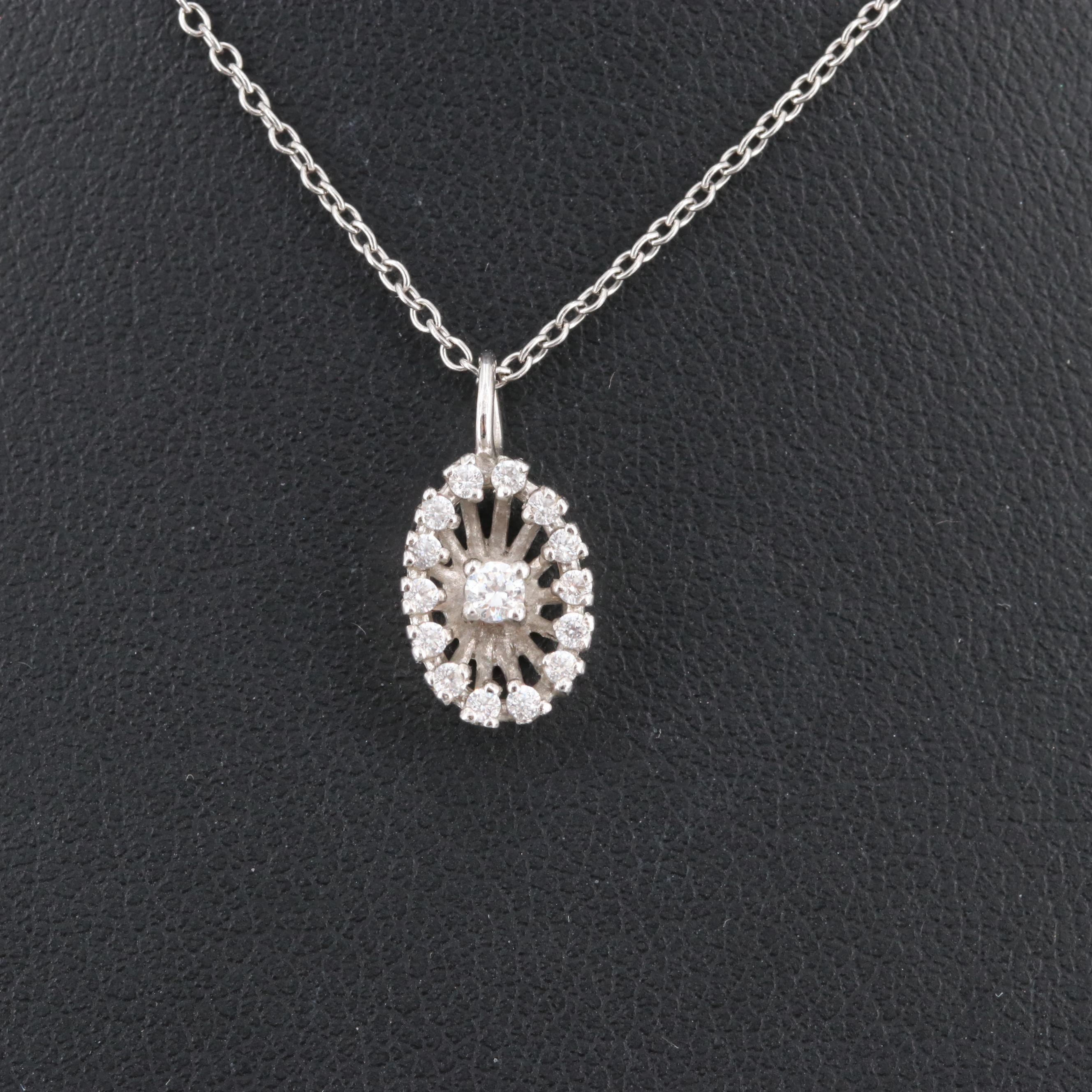 18K White Gold Cubic Zirconia Pendant on Platinum Necklace