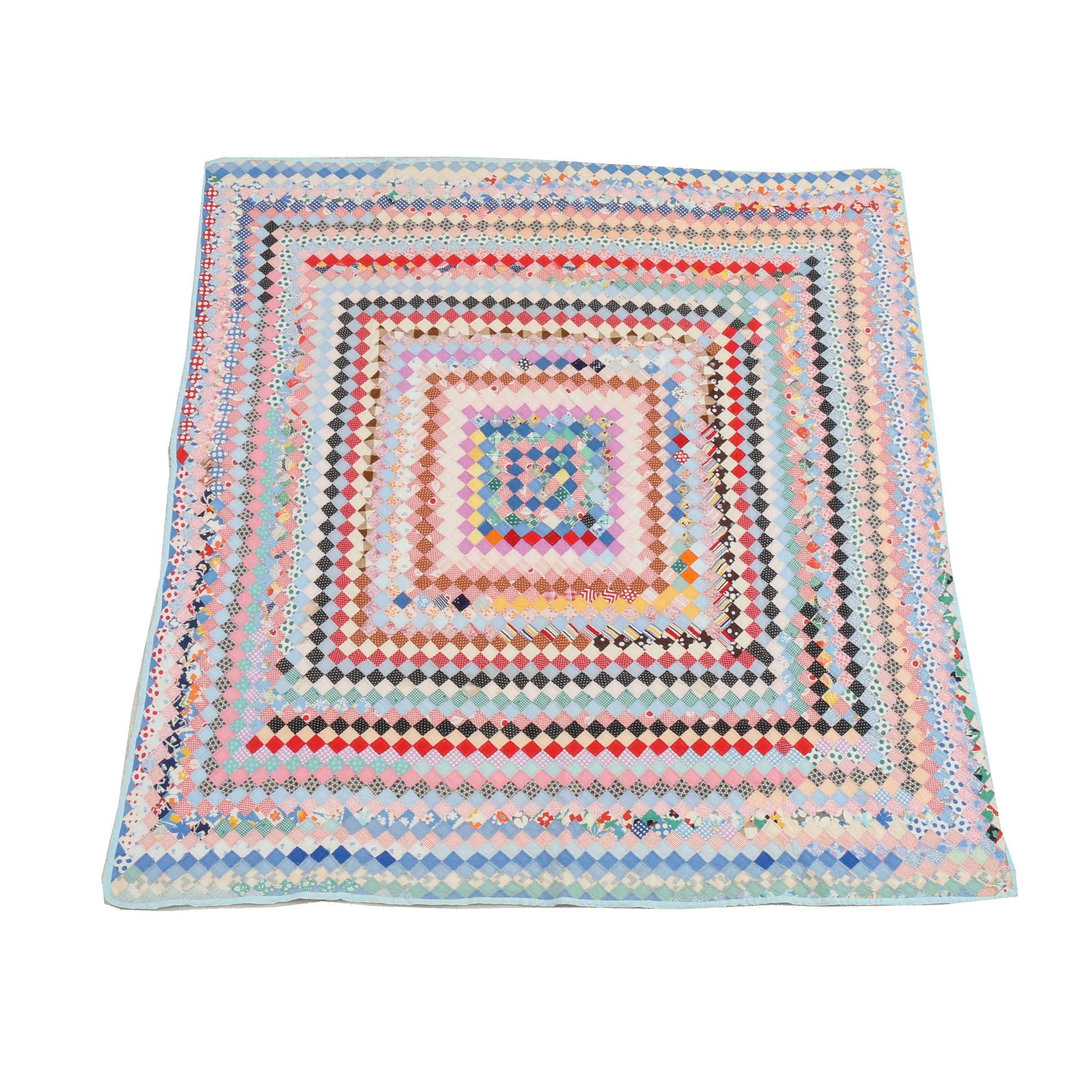 """Handcrafted """"Small Diamond"""" Block Quilt"""