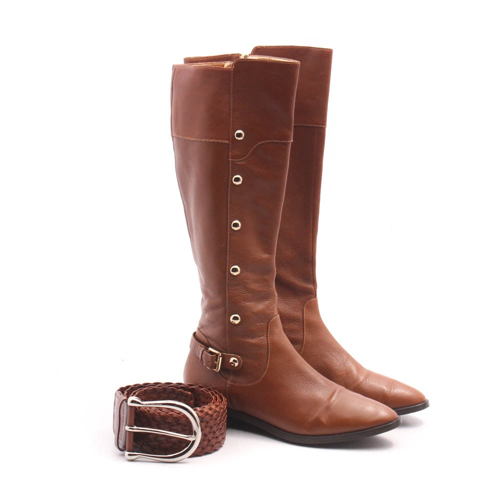 Michael Kors Cognac Tall Leather Boots and Woven Leather Belt