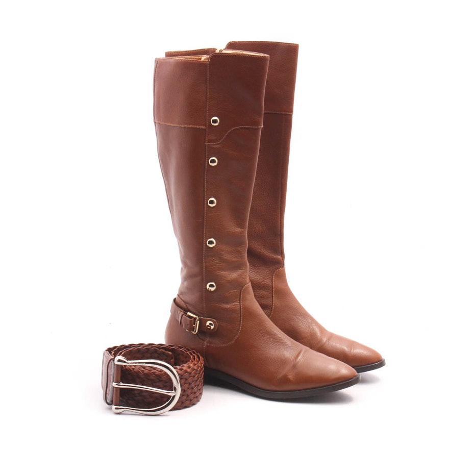 3ed708fe20d Michael Kors Cognac Tall Leather Boots and Woven Leather Belt   EBTH